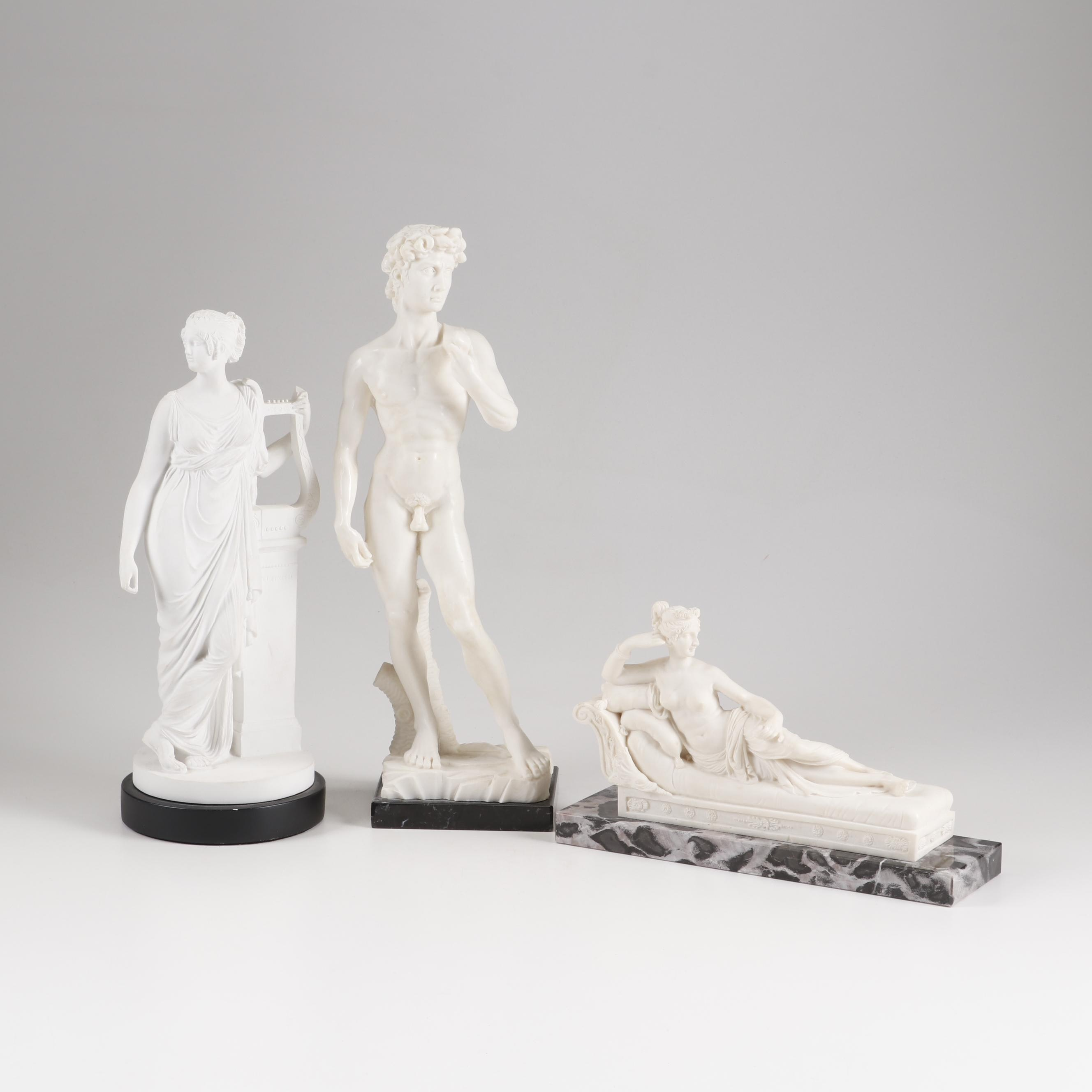 Copy Sculptures after Michelangelo and Antonio Canova and Greek Muse Sculpture