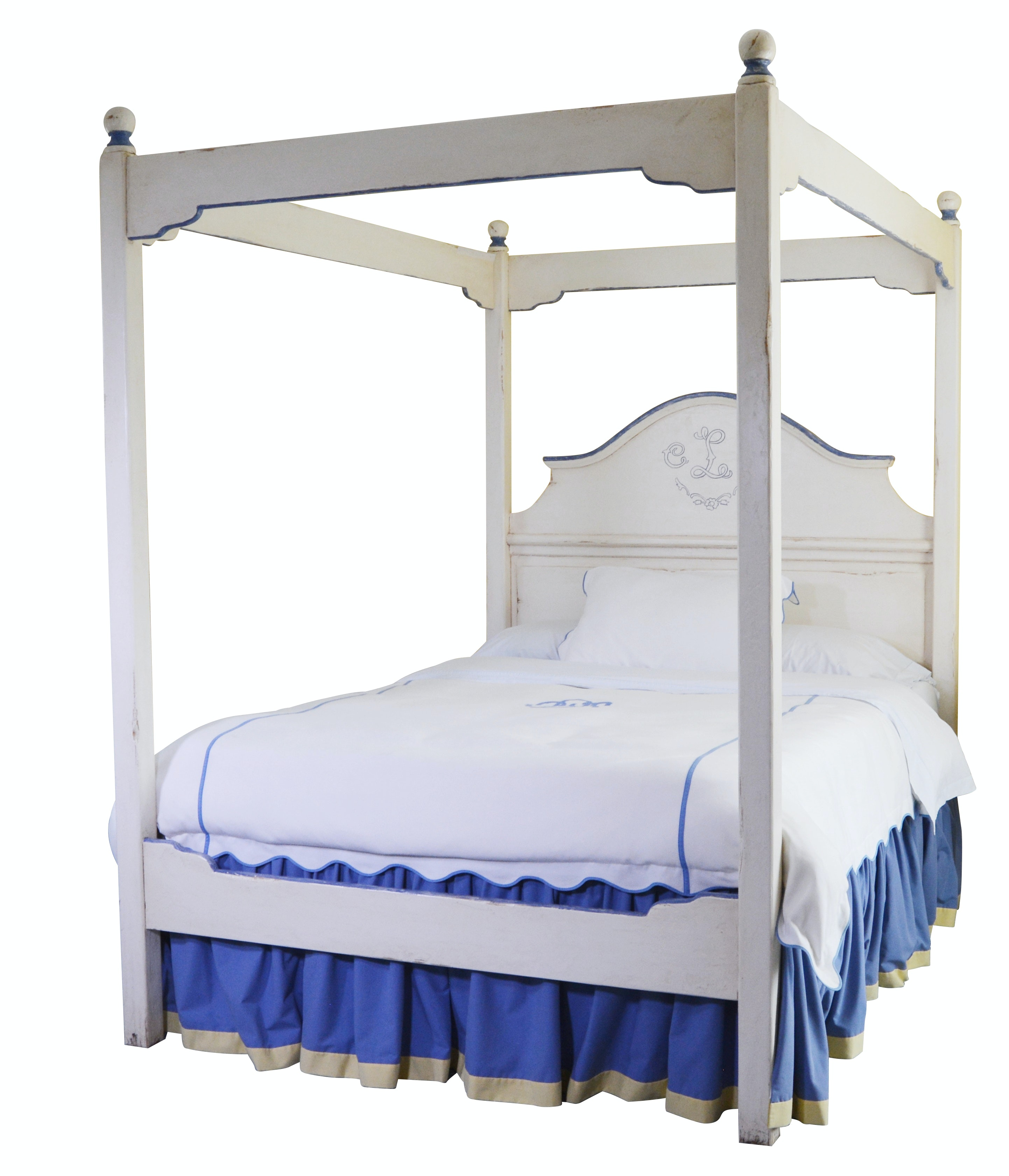 French Country Style White Four Poster Queen Bed, Contemporary
