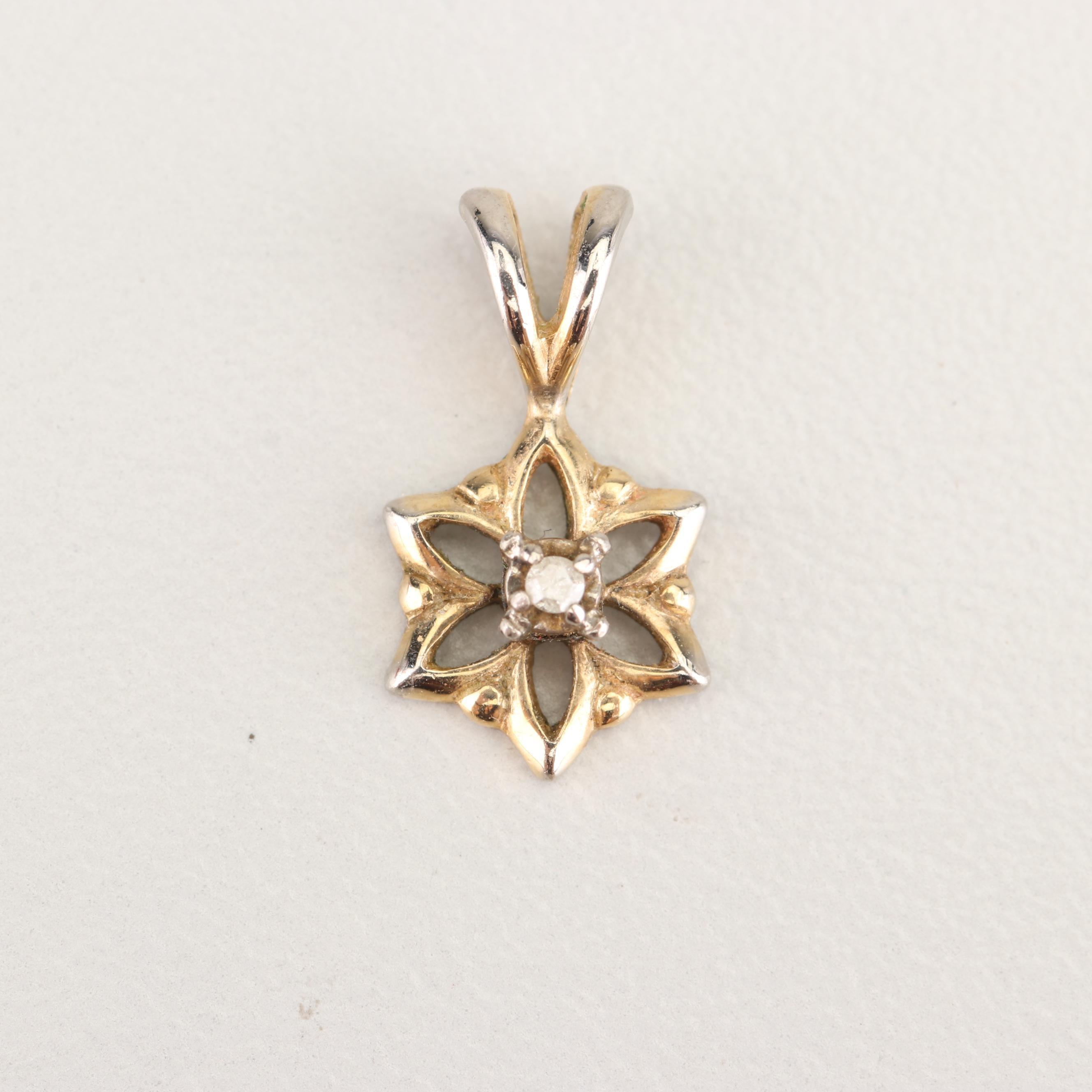 14K Yellow Gold Filled Diamond Pendant