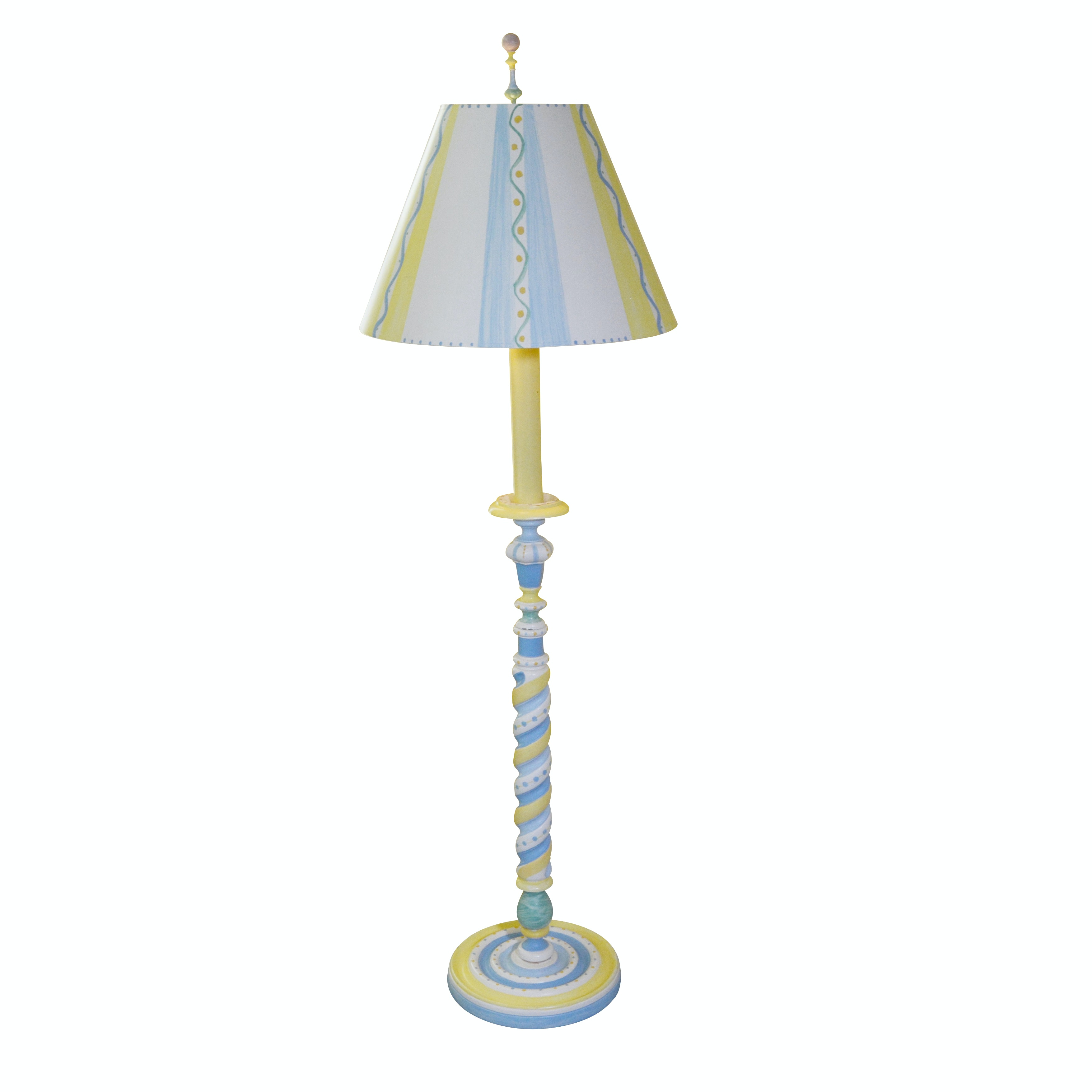 Painted Turned Spindle Floor Lamp with Matching Shade