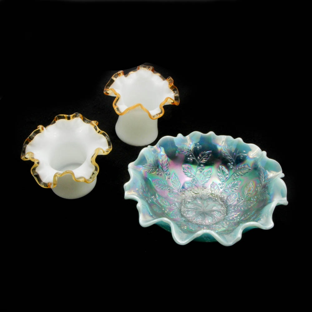 Fenton Gold Crest Ruffled Edge Hat Vases and Light Green Irridescent Flared Bowl