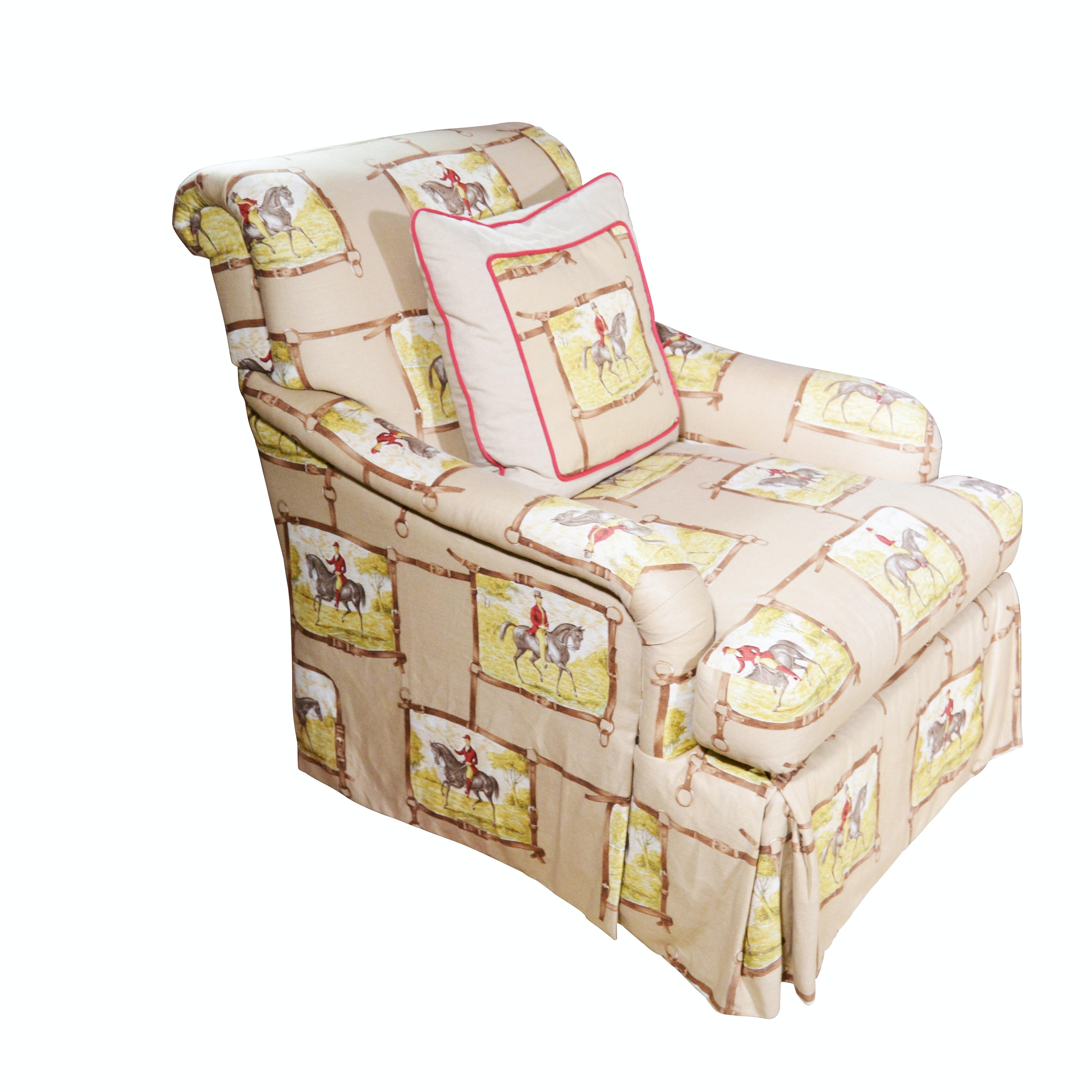Jockey Upholstered Swivel Lounge Chair, Contemporary
