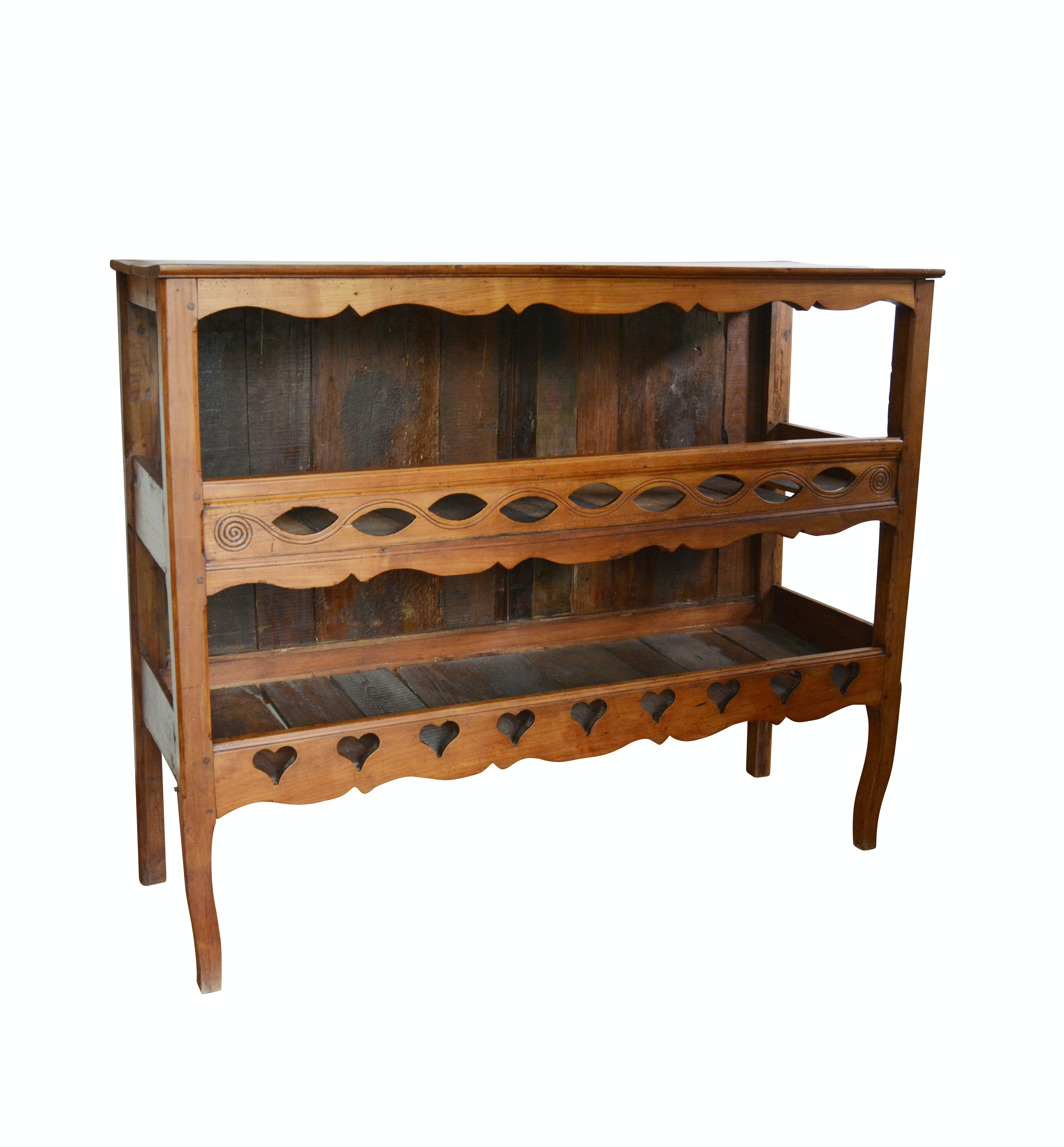 French Country Carved Fruitwood Open Storage Cabinet, Antique