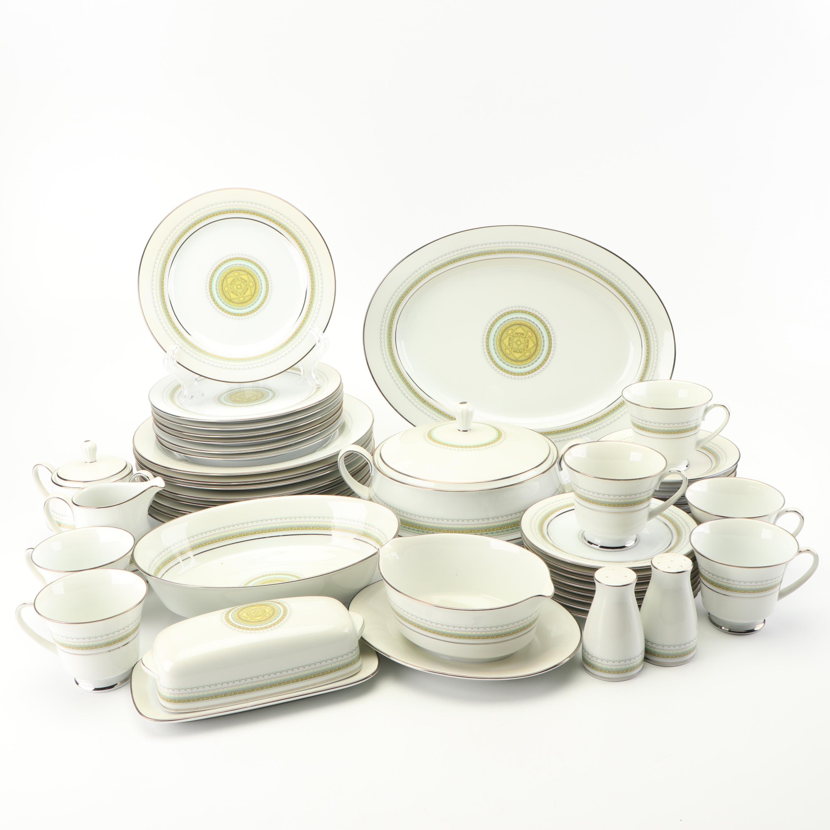 "Noritake ""Waltz"" Porcelain Dinnerware Service of Six, c 1970s"