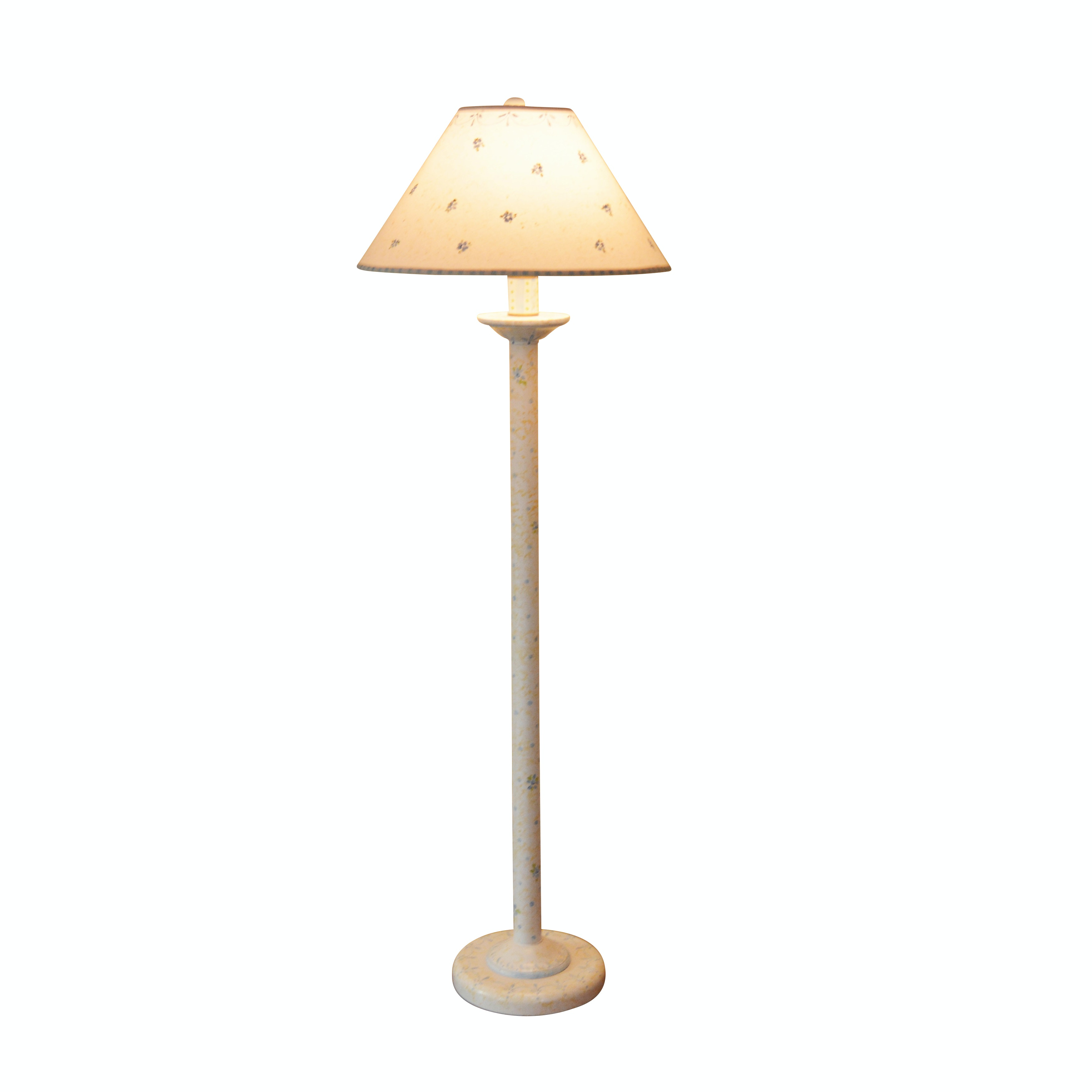 Painted Wooden Floor Lamp with Matching Shade