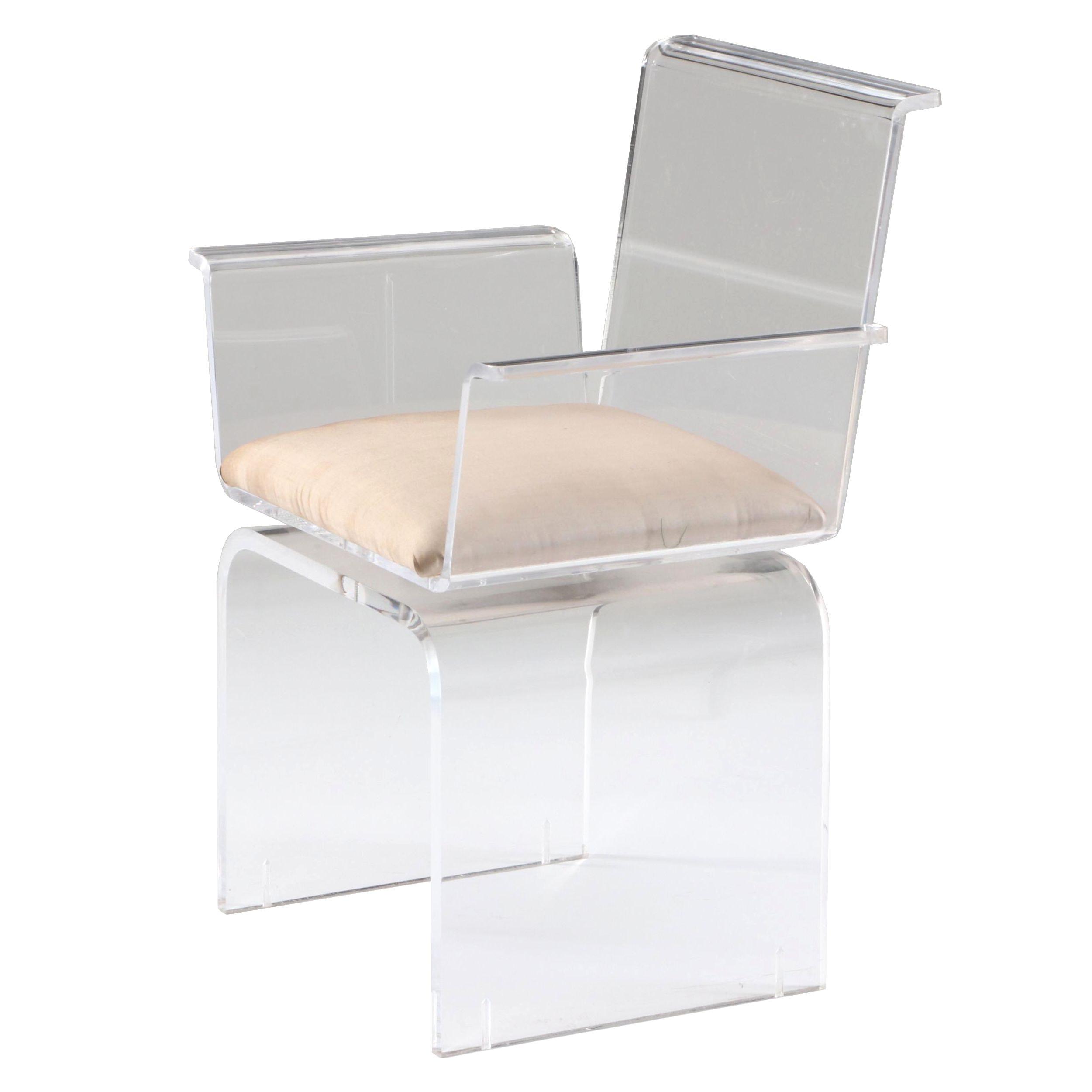 Contemporary Clear Acrylic Swivel Arm Chair
