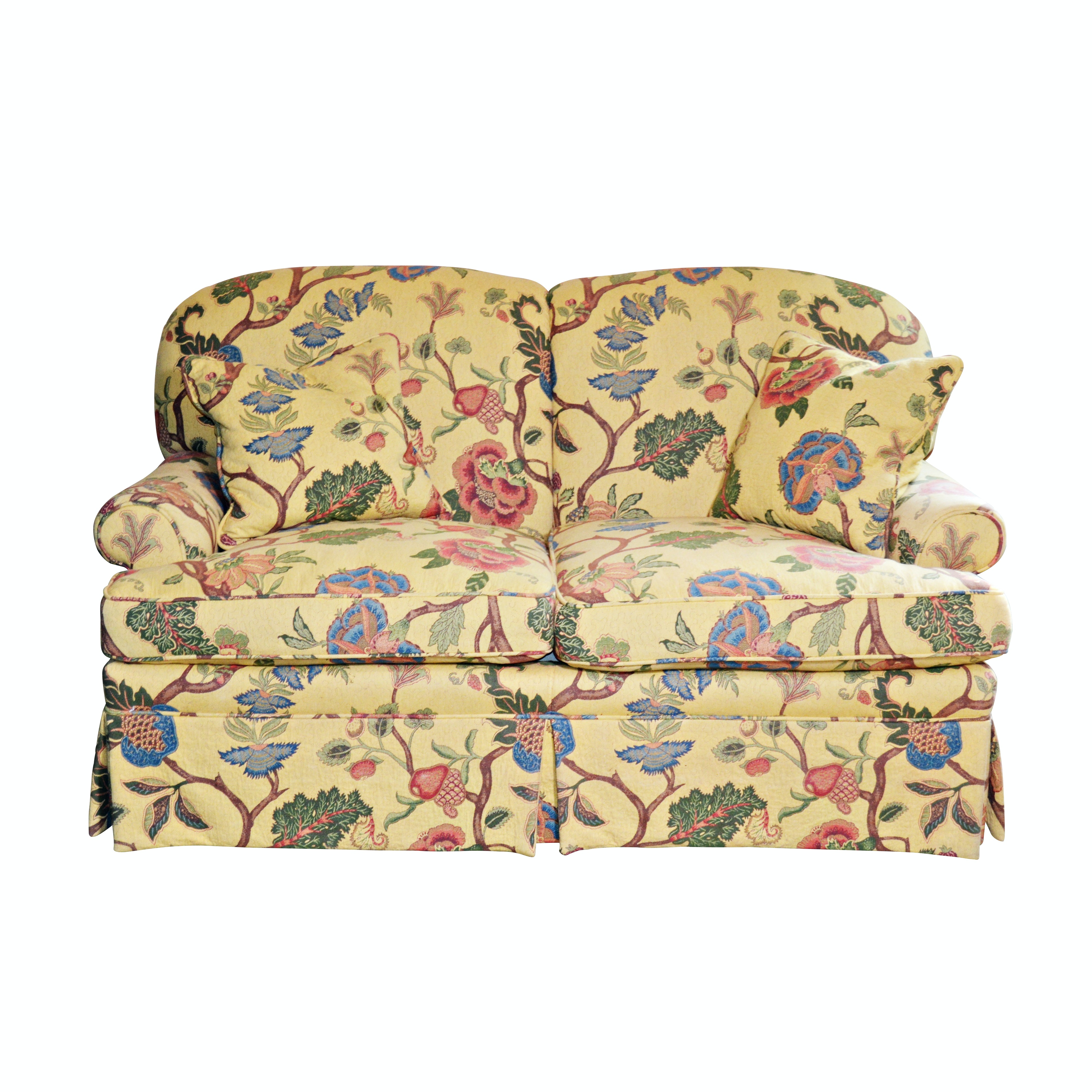 Large Floral Print Upholstered Loveseat, Late 20th Century