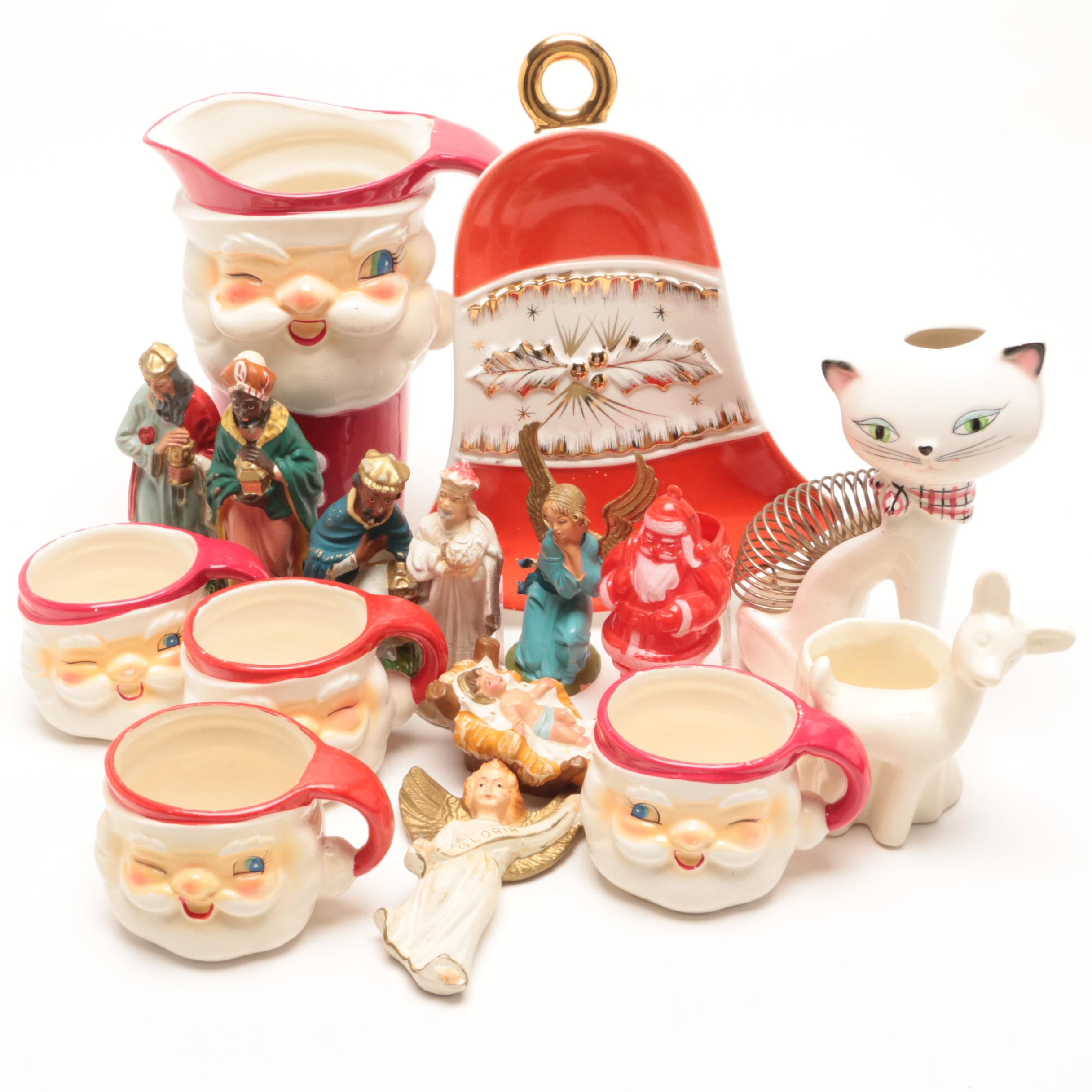 Group of Christmas Figurines and Servingware