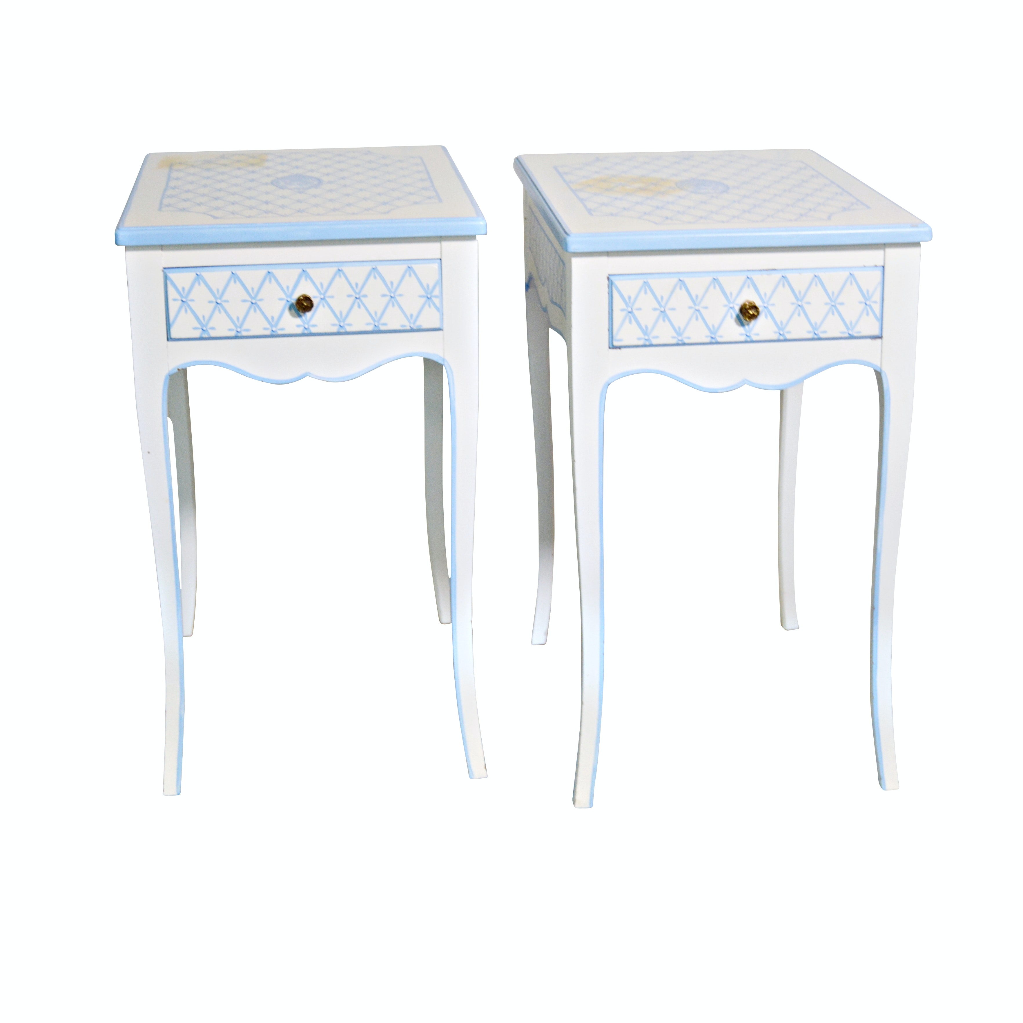 Lattice Painted Wood End Tables, Pair, Late 20th Century