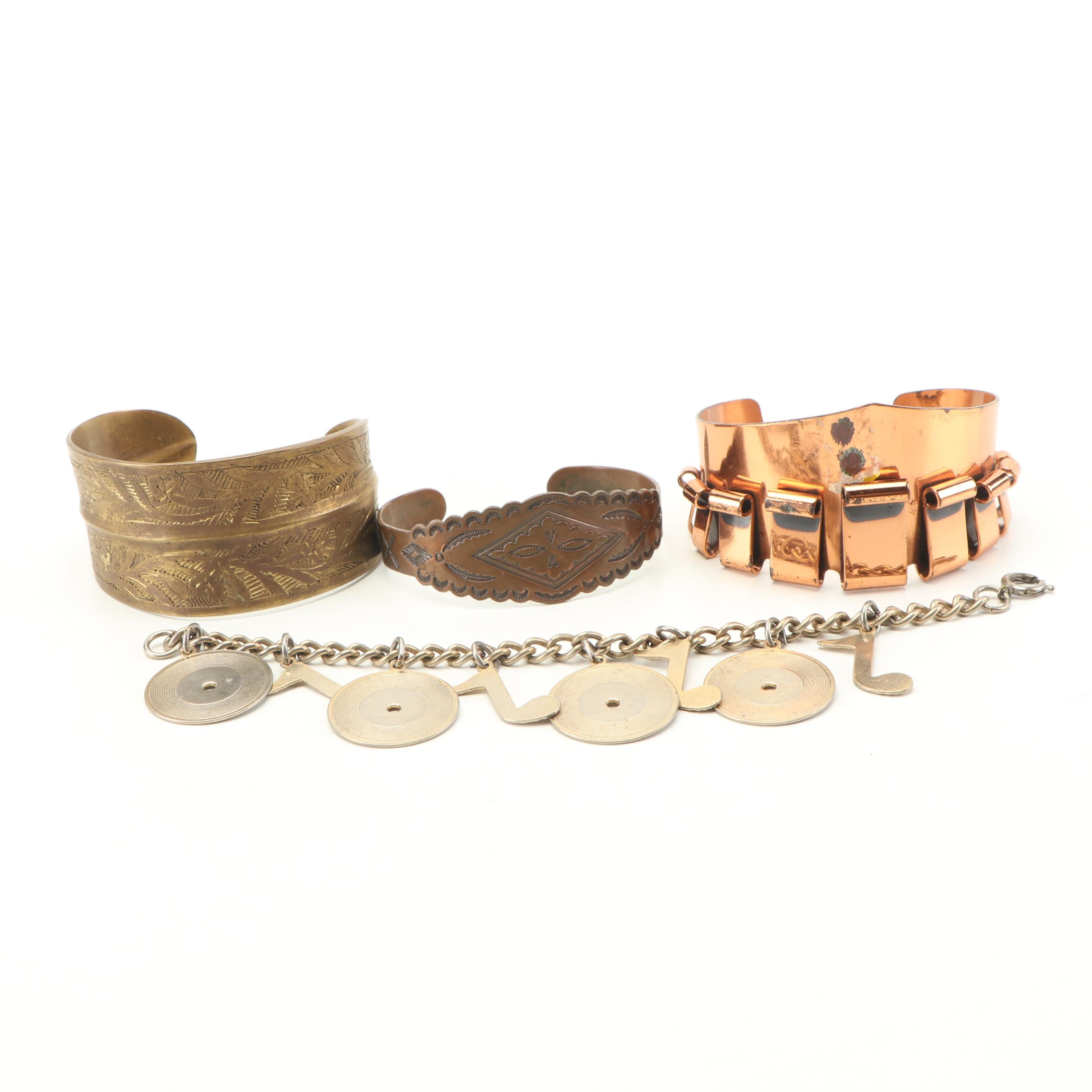 Brass and Copper Cuffs with Metal Charm Bracelet