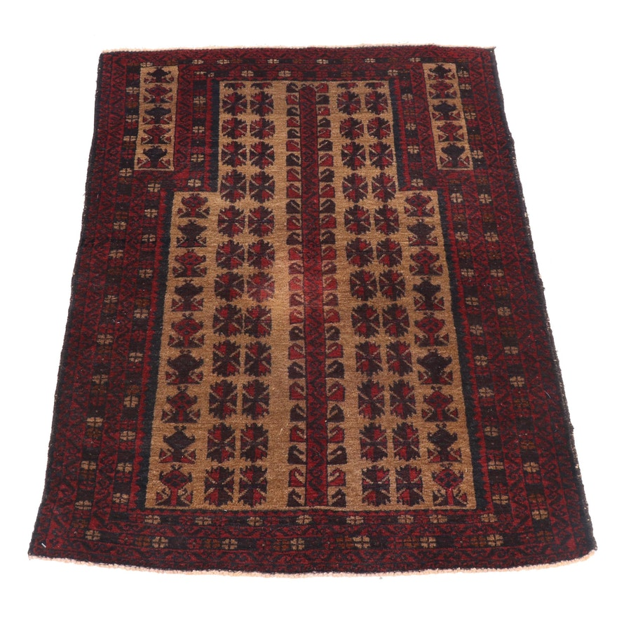 Hand-Knotted Persian Beluch Wool Prayer Rug