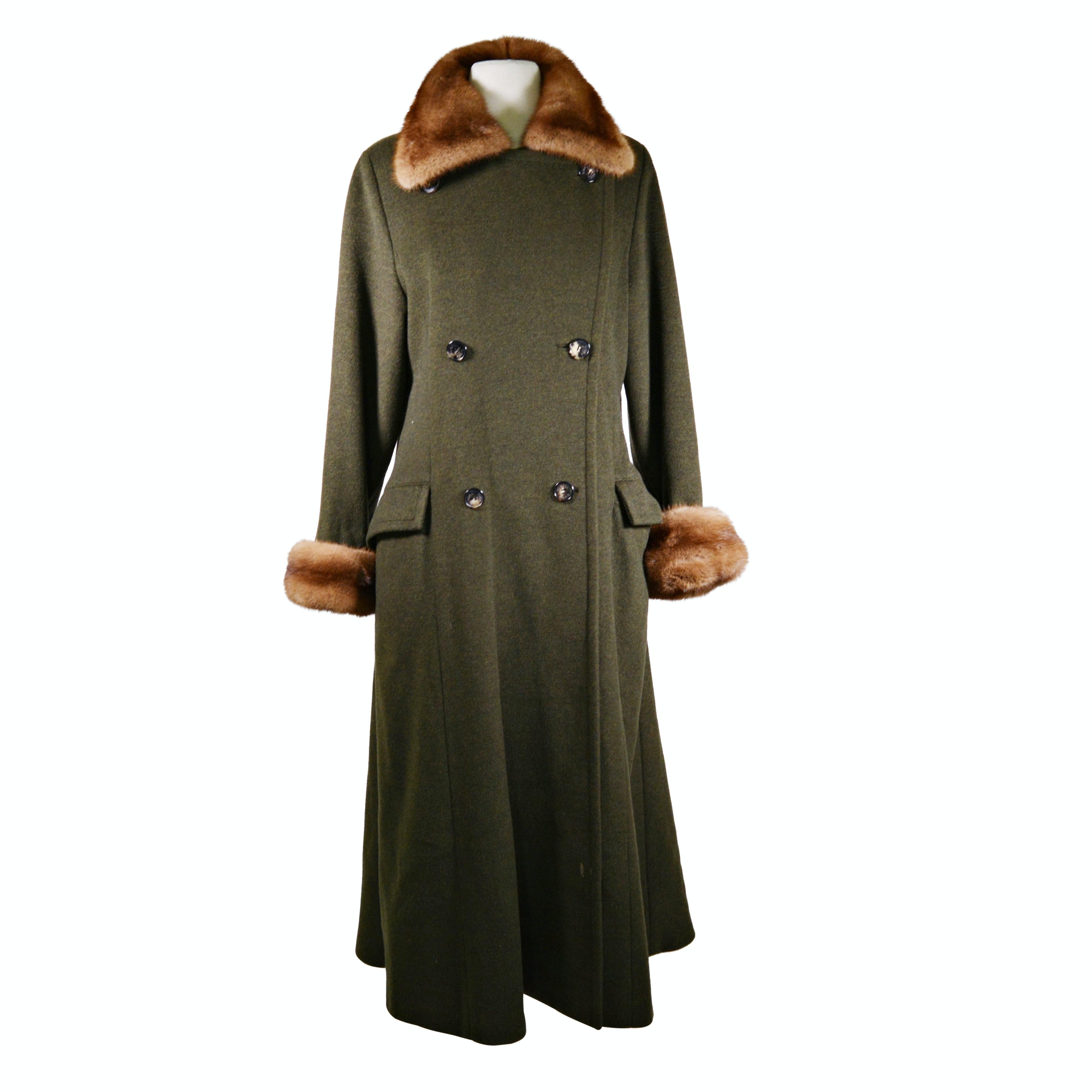 Women's J. Mendel Paris Blue Label Cashmere Dress Coat with Fur Collar