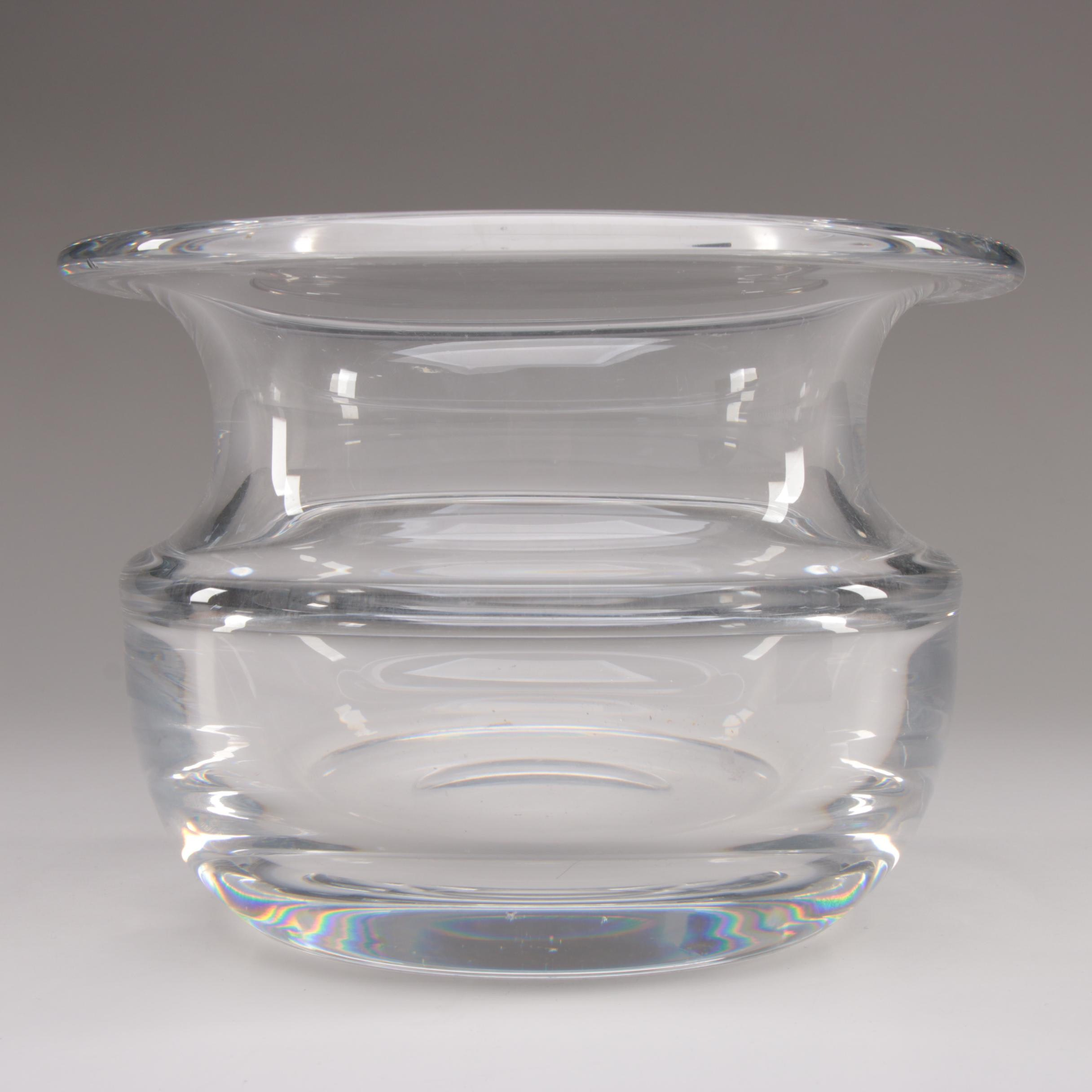 Orrefors Crystal Vase Designed by Olle Alberius, Circa 1980s