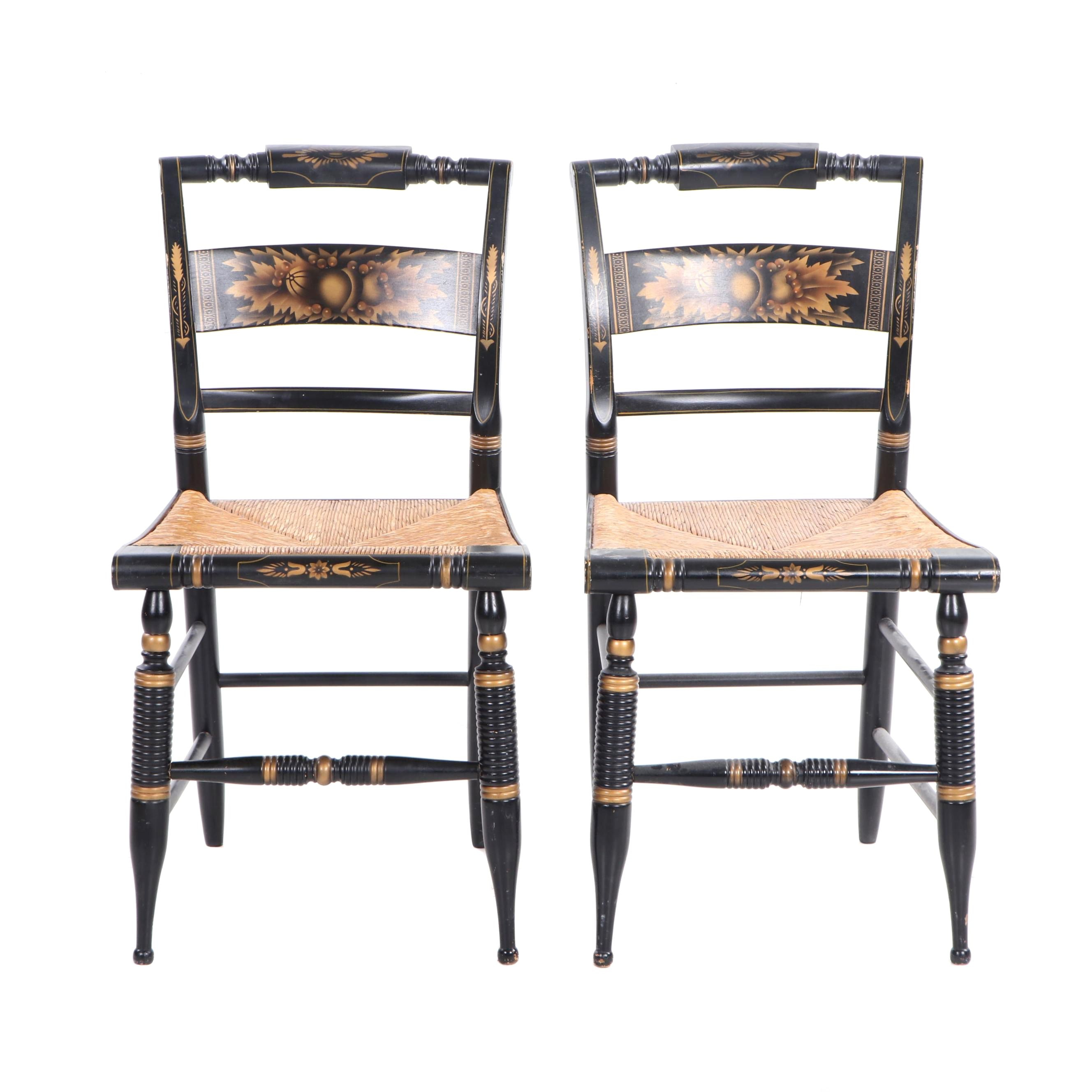 Hitchcock Style Painted Side Chairs with Rush Seats, Pair