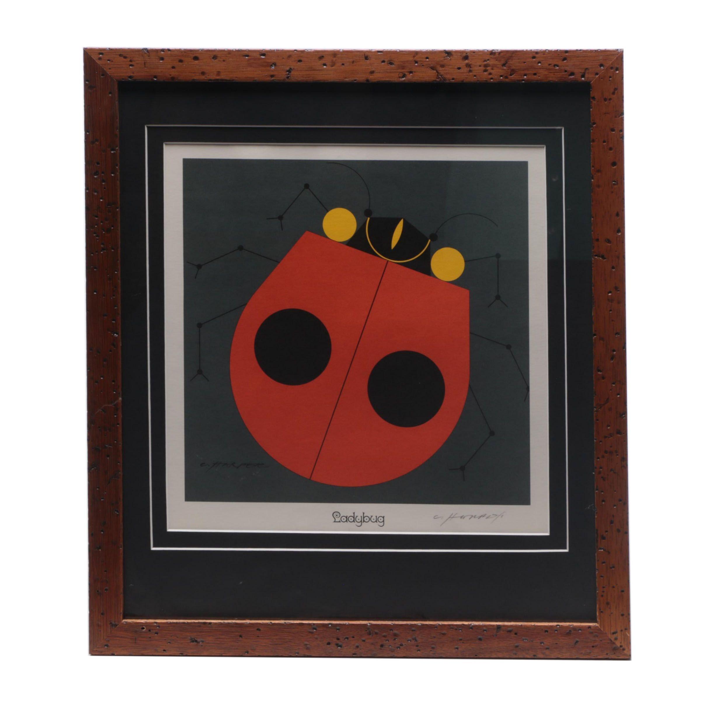 "Charley Harper Lithograph ""Ladybug"""