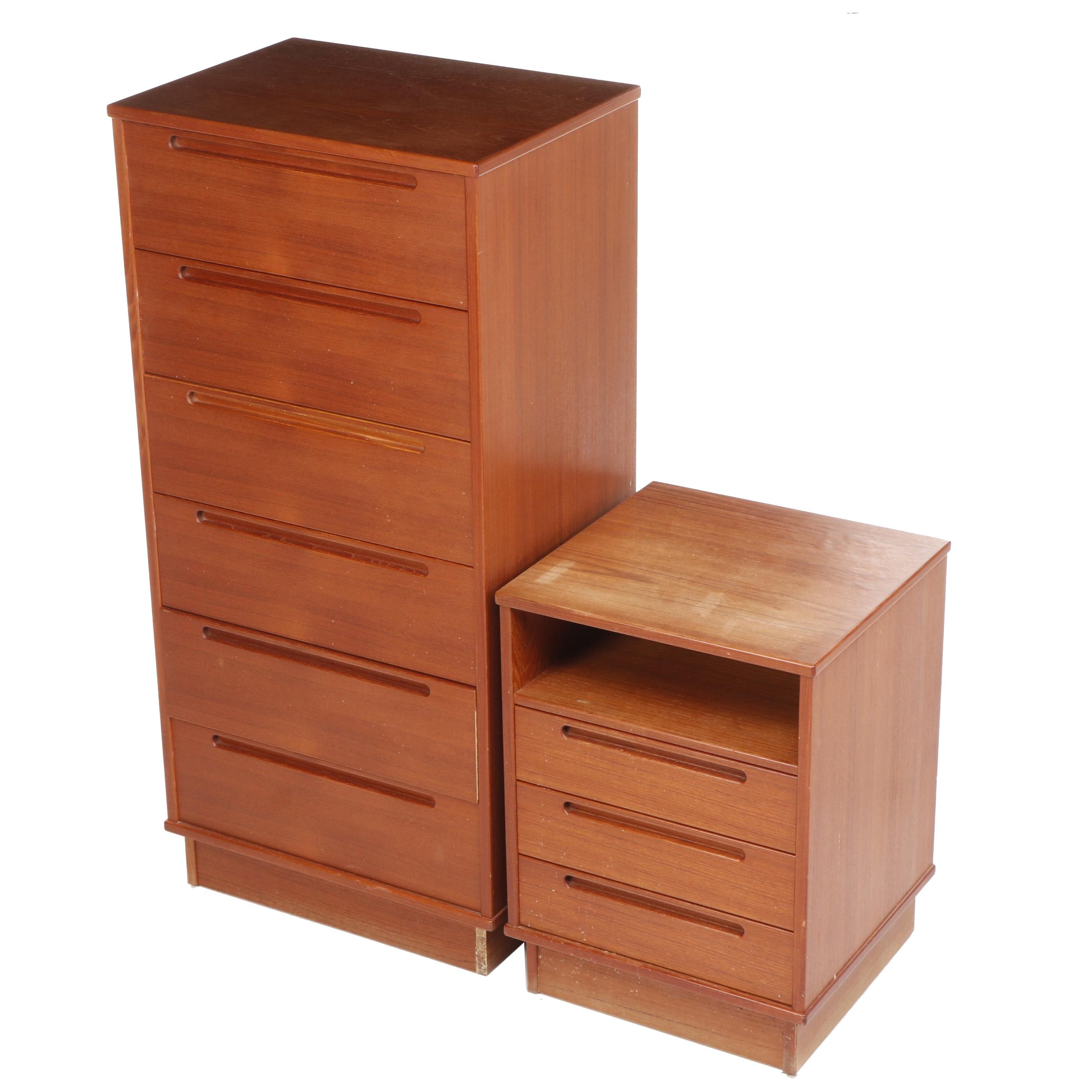 Arenkiel for Torring Danish Modern Teak Nightstand and Chest of Drawers
