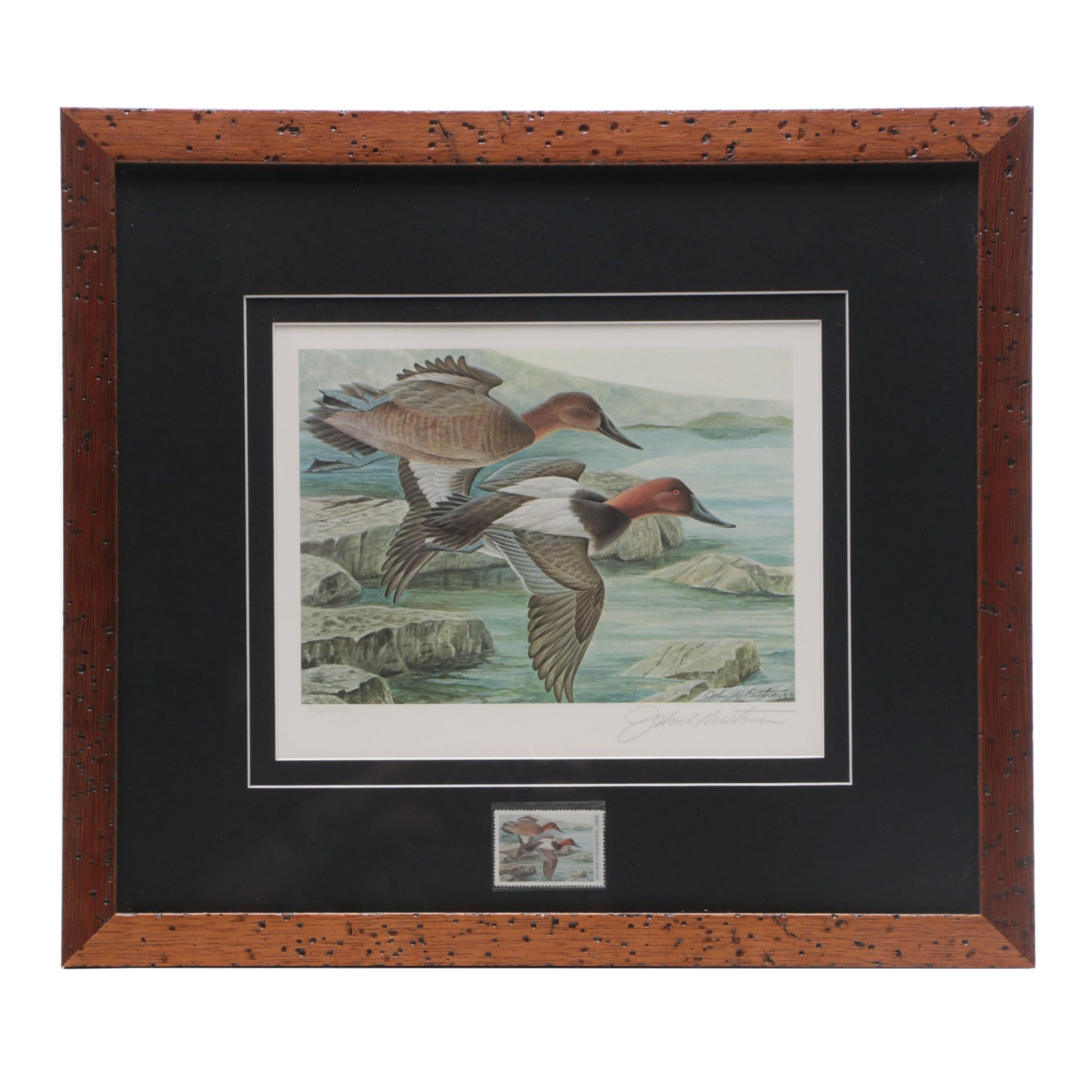 "John Ruthven Offset Lithograph ""Canvasbacks in Flight"" for Ducks Unlimited"