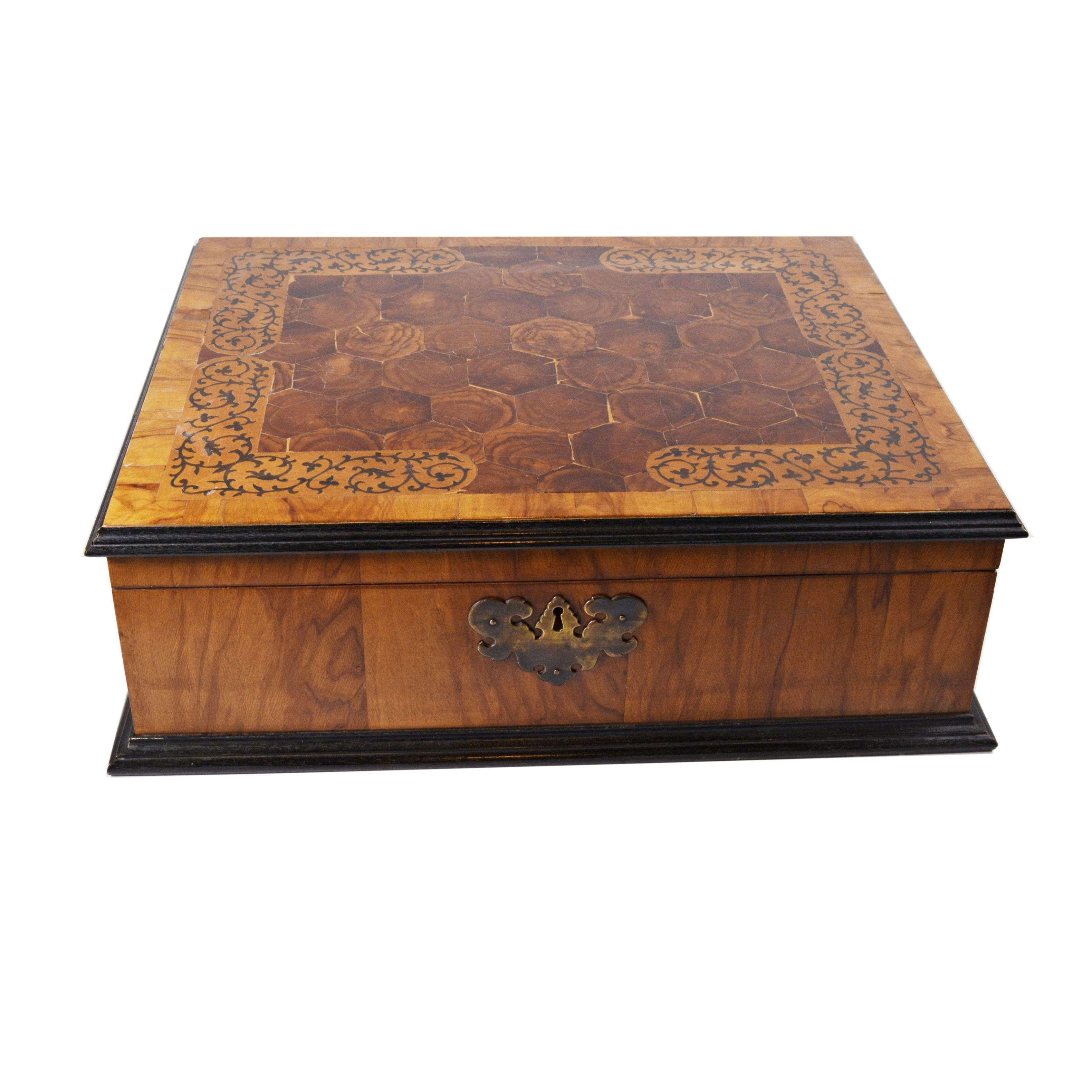 Burled Walnut and Vine Inlay Humidor, Vintage