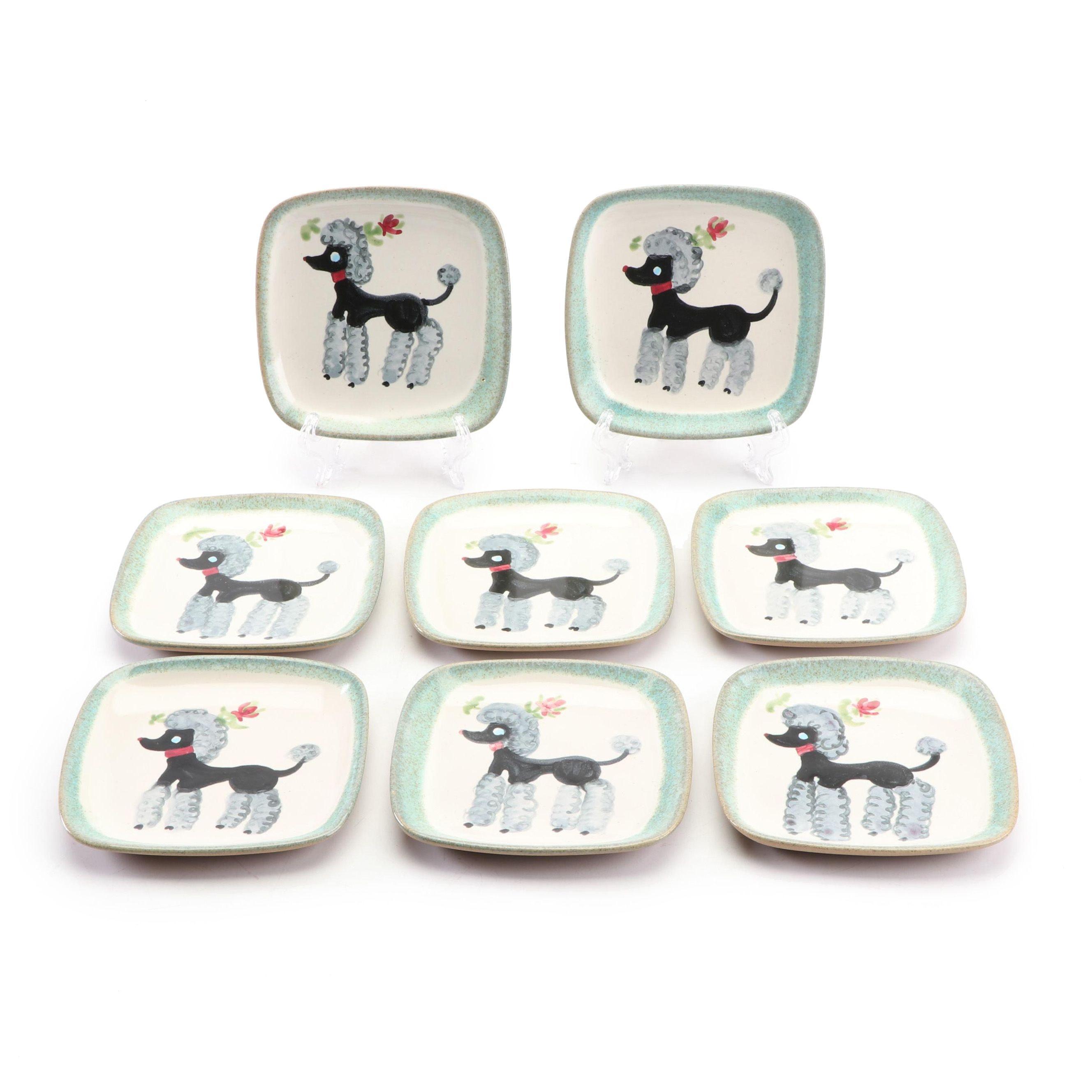 Glidden Poodle Ceramic Plates, Mid-Century