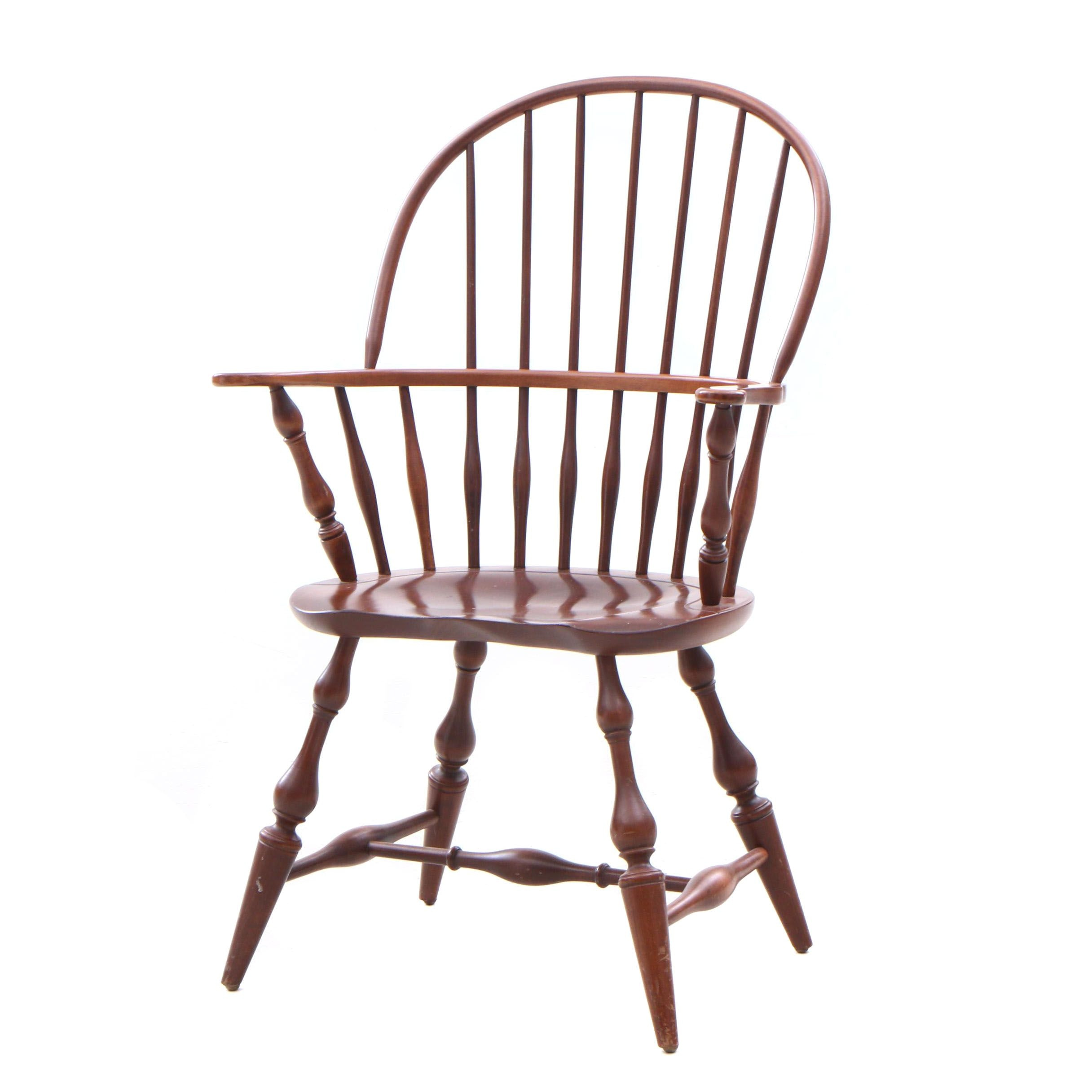 Windsor Style Cherry Bow Back Arm Chair, Contemporary