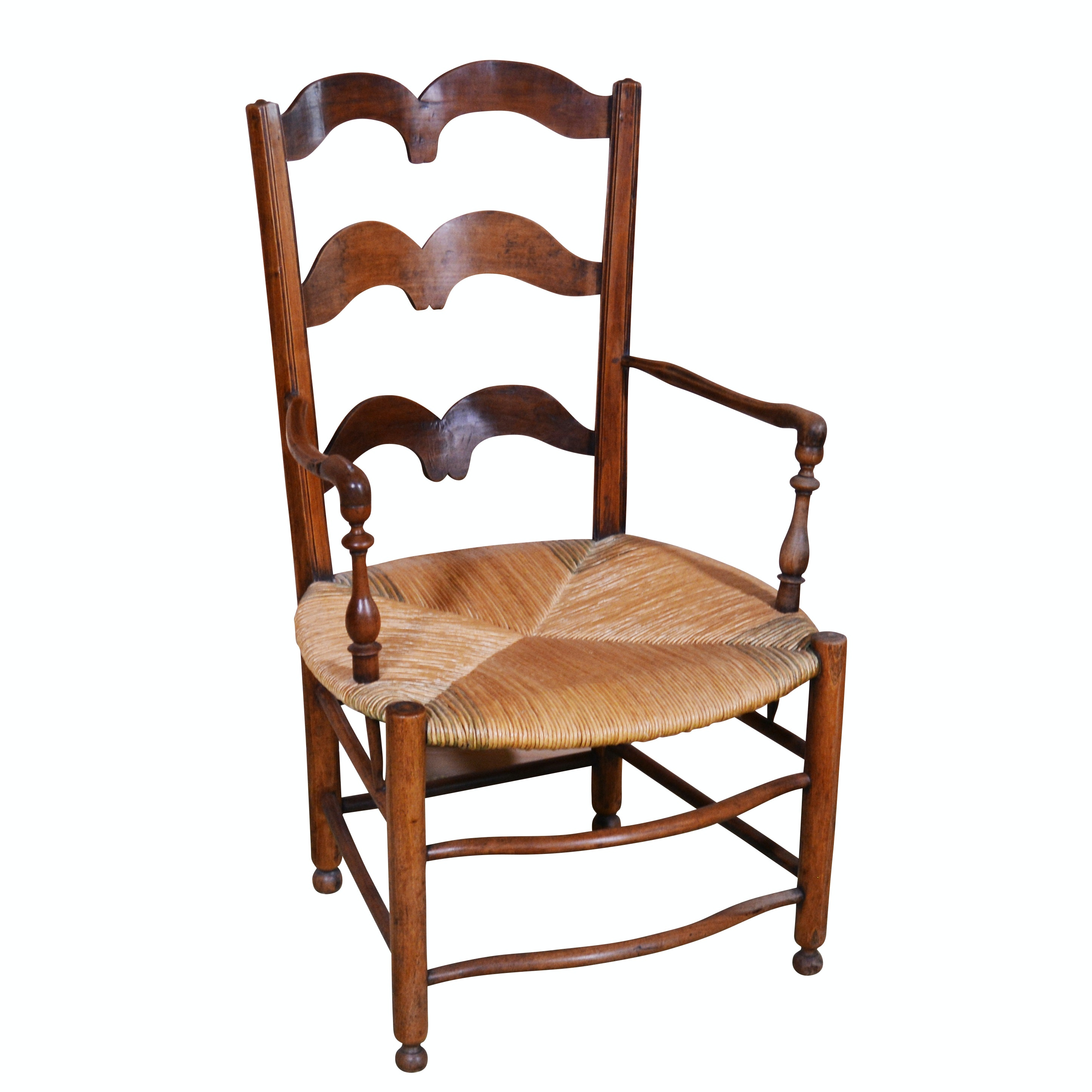 French Country Ladder Back Armchair with Rush Seat, Contemporary