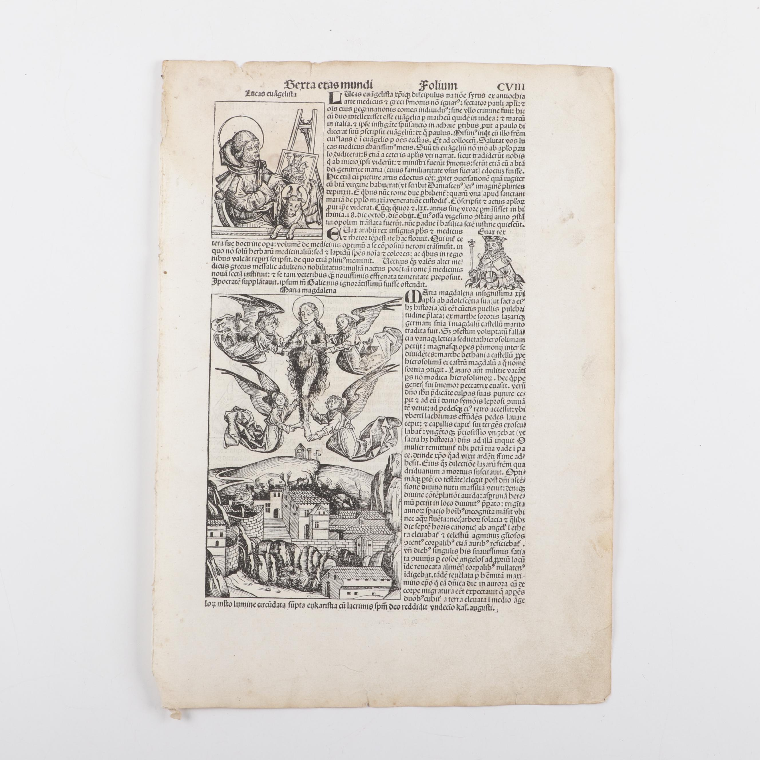 "Leaf from circa 1493 ""Nuremberg Chronicle"" with Woodcuts of St. John's Martyrdom"