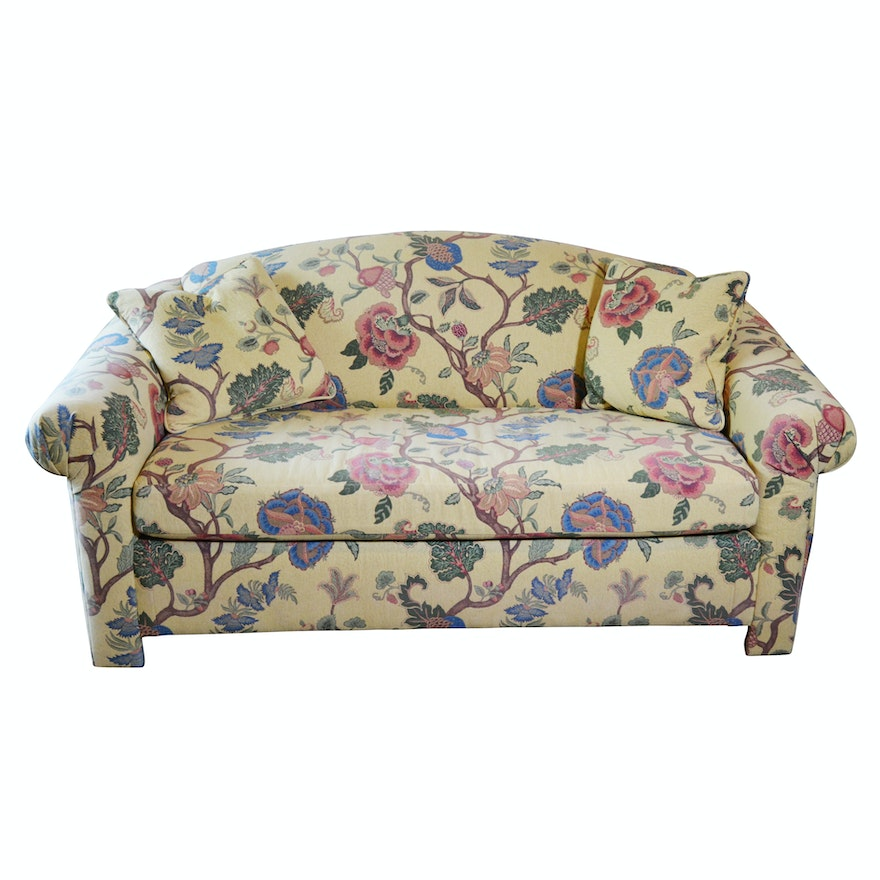 Craftwork Guild Large Floral Upholstered Sleeper Sofa, Late 20th ...