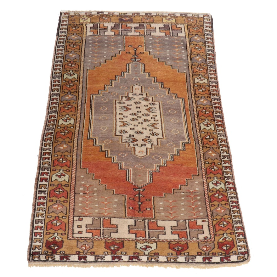 Hand-Knotted Central Anatolian Wool Rug