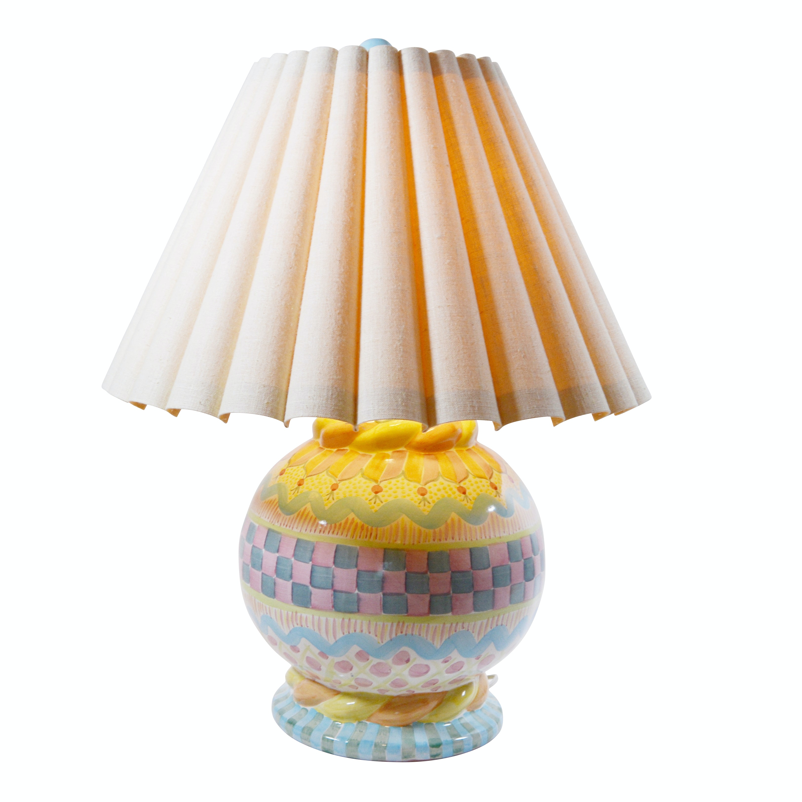 Bulbous Painted Pottery Table Lamp Attributed to MacKenzie-Childs