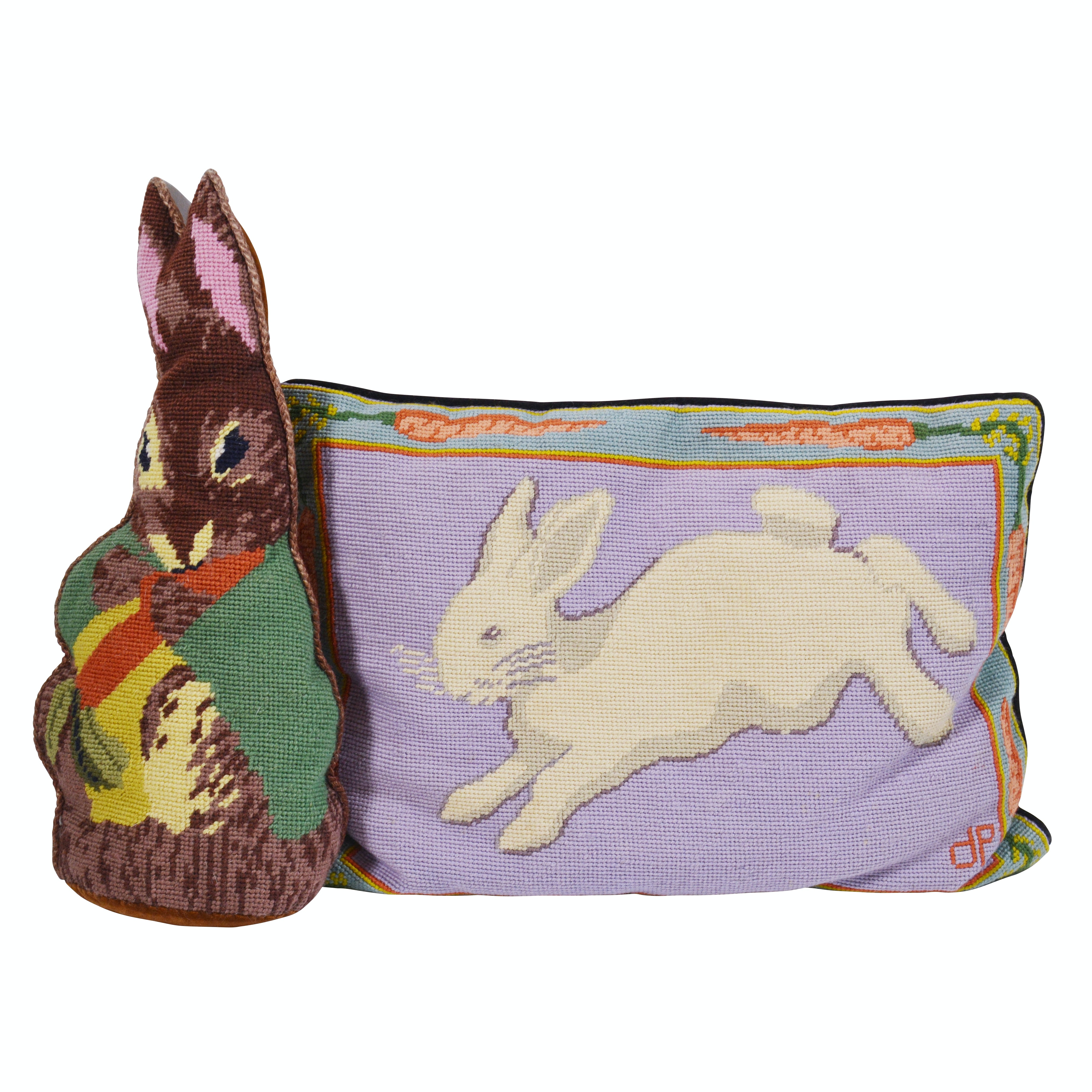 Patricia Dupont Needlpoint Rabbit Pillow and Other Rabbit-Shaped Pillow