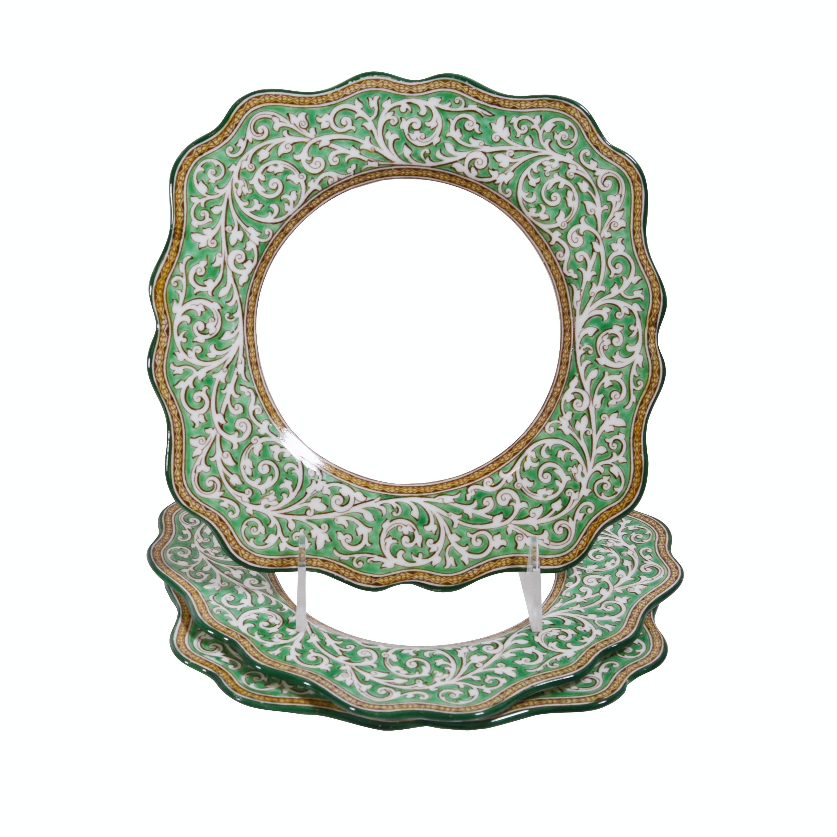 "Wedgwood ""Praze Green"" Retired Bone China  Luncheon Plates, Set of Three"