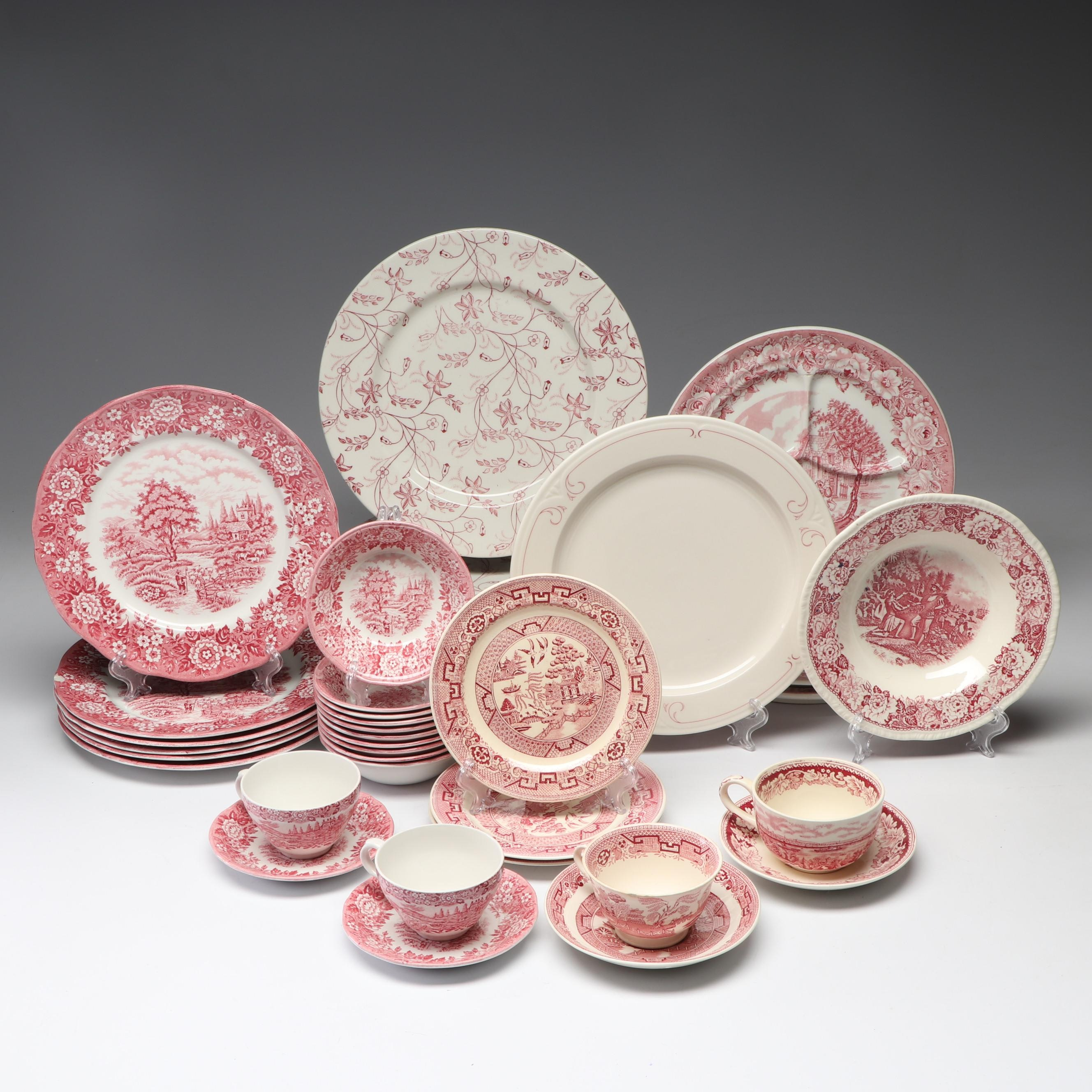 Pink and White Transferware Dinnerware Including Homer Laughlin