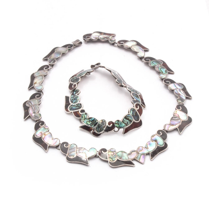 Taxco Sterling Silver Inlaid Shell Necklace and Bracelet