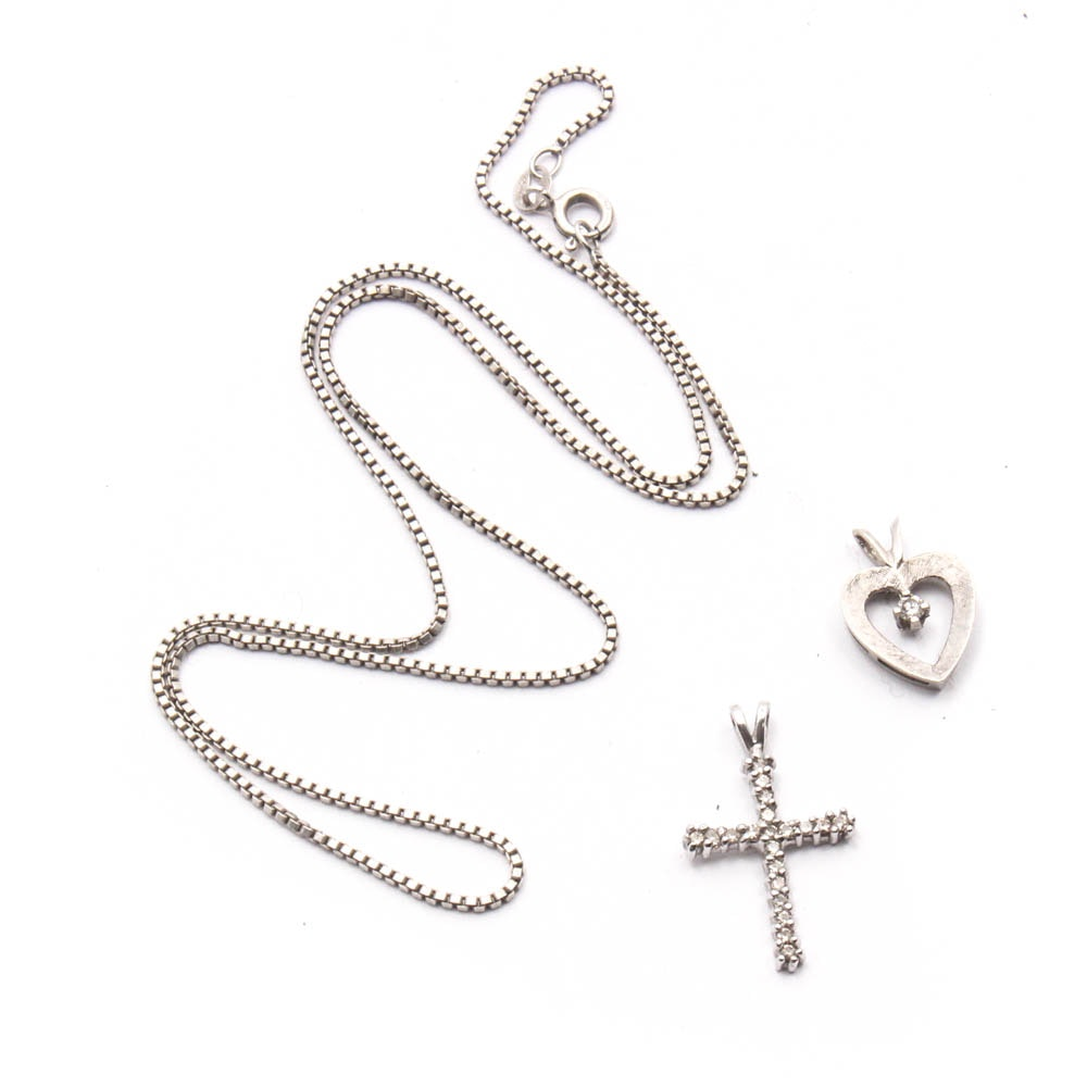Platinum, 14K White Gold and Sterling Silver Diamond Pendants and Necklace