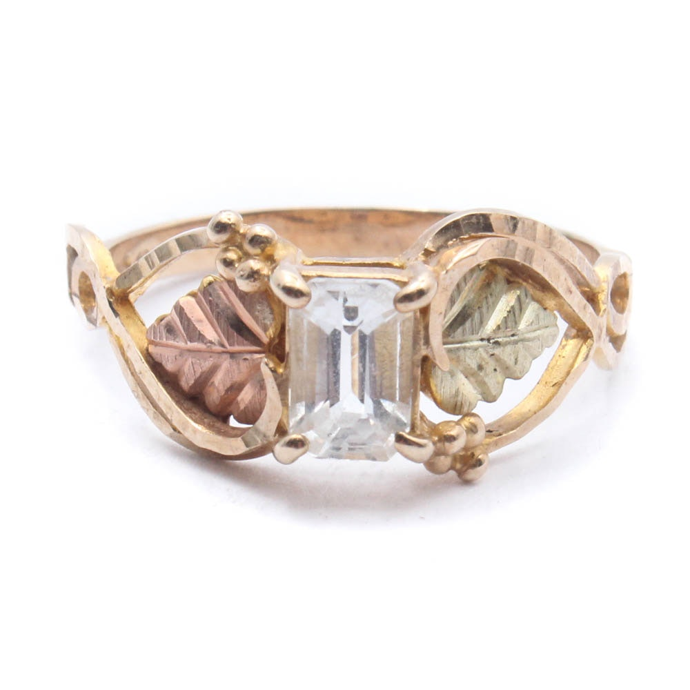 10K Yellow and Rose Gold White Topaz Ring