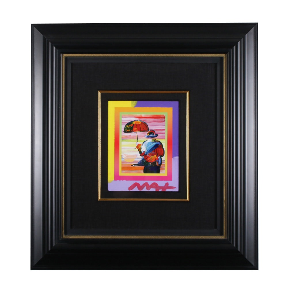 "Peter Max Acrylic Painting ""Umbrella Man on Blends"""