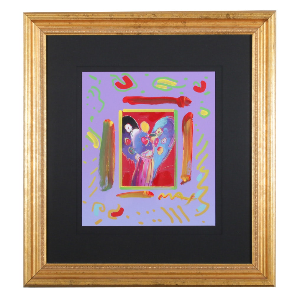 "Peter Max Mixed Media Painting ""Angel with Heart Collage"""