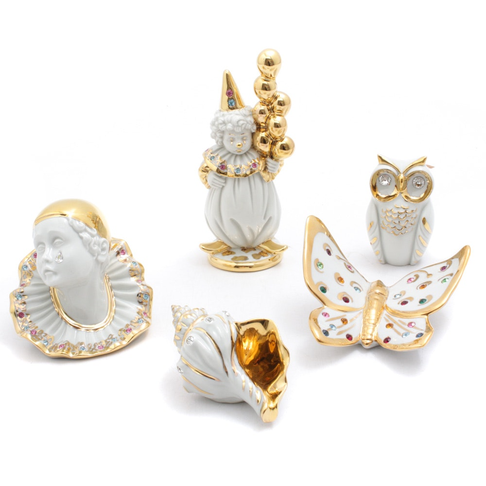Limoges with Swarovksi Crystal Clowns, Shell, Butterfly and Owl Figurines