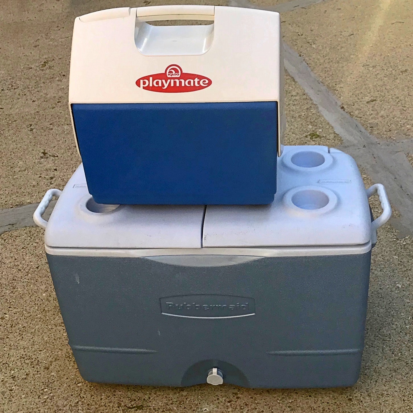 Igloo Playmate and Rubbermaid Coolers