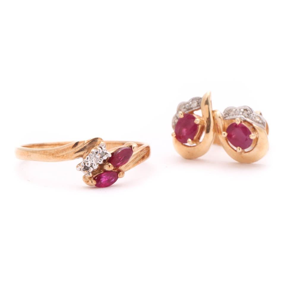 Yellow Gold Diamond Ruby Ring and Earrings