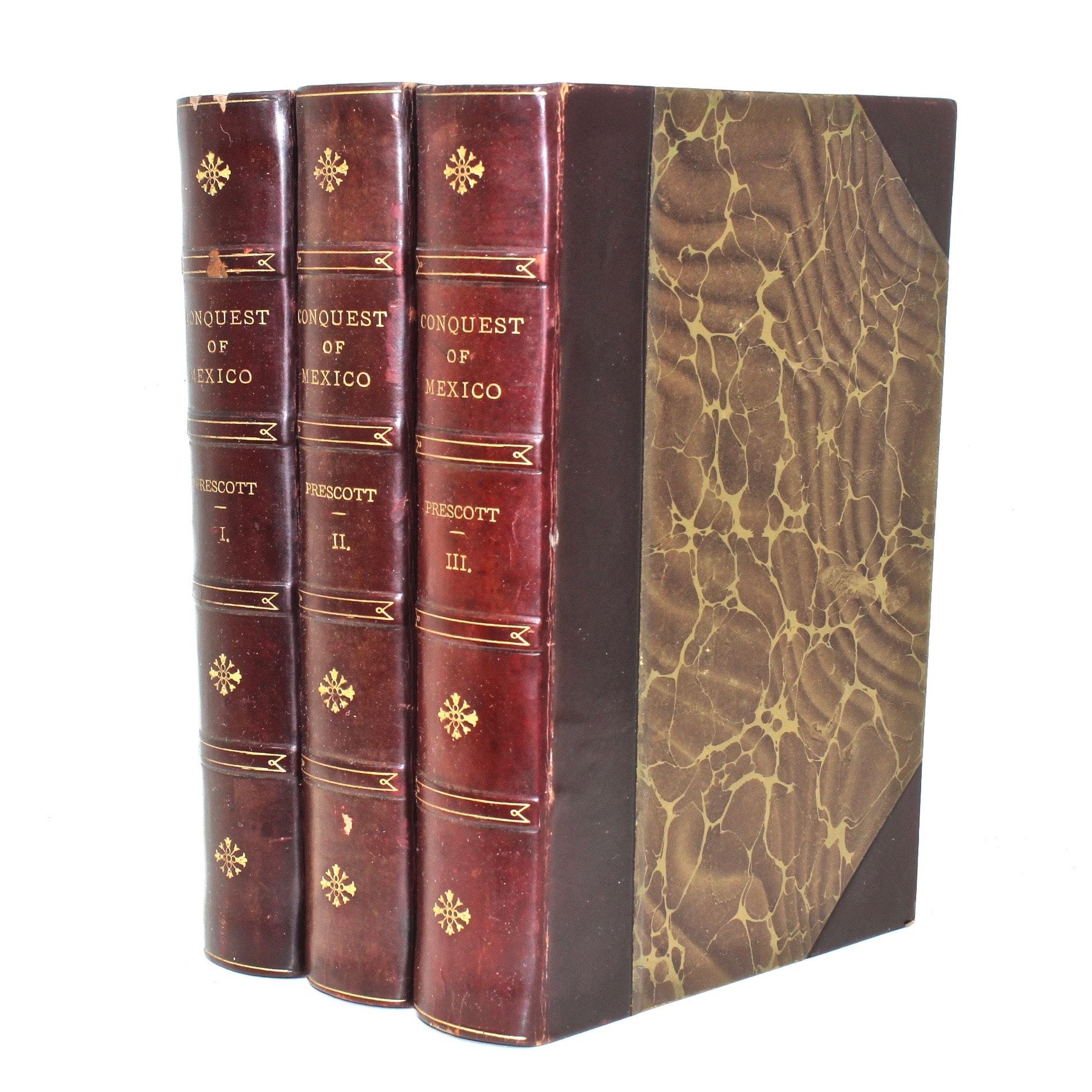 """Conquest of Mexico"" by William H. Prescott, Three Volume Set"