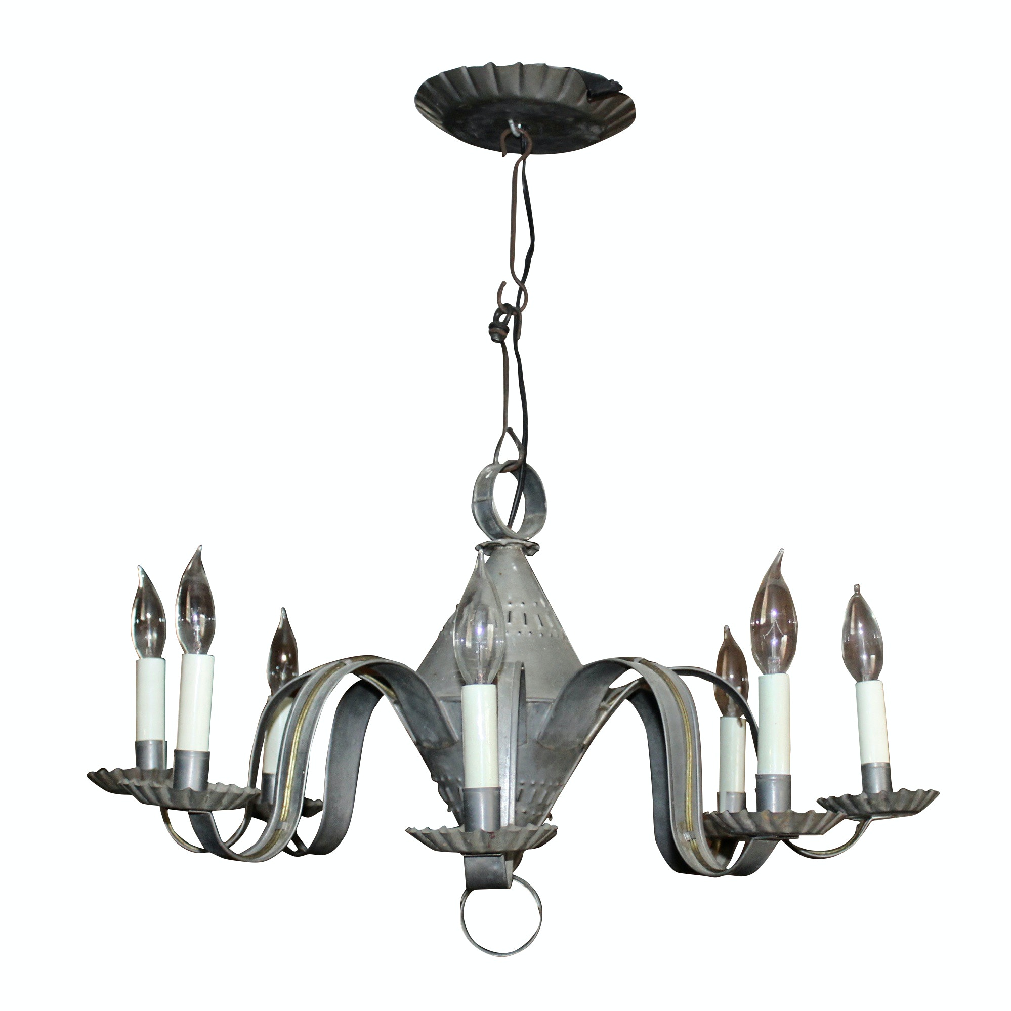 Federal Style Reticulated Tin Eight Light Chandelier