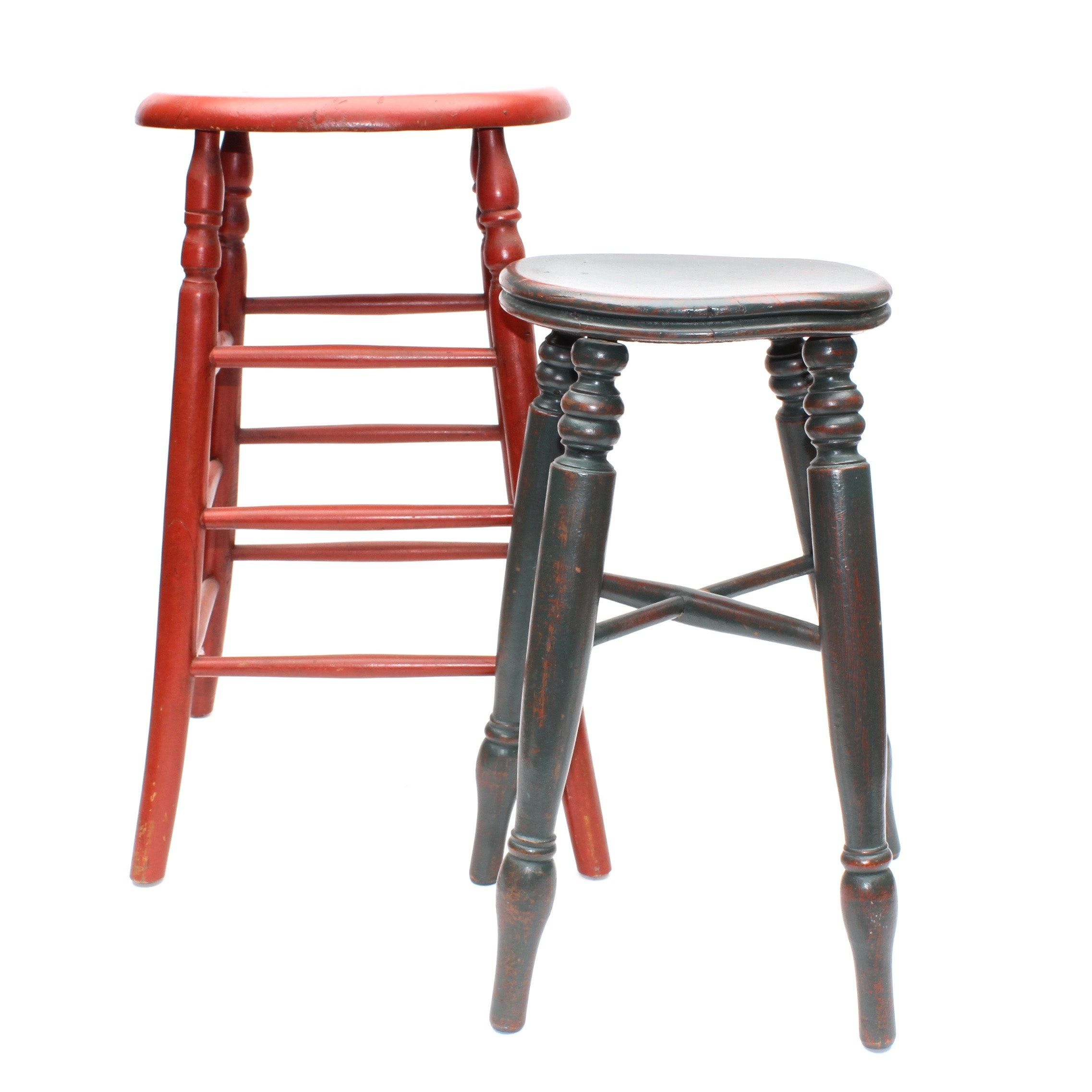 Two Vintage Hand Painted Wooden Stools