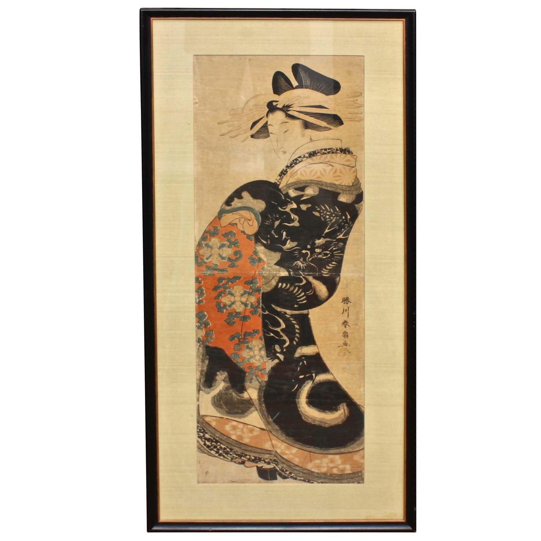Katsukawa Shunsen Ukiyo-e Print of a Courtesan