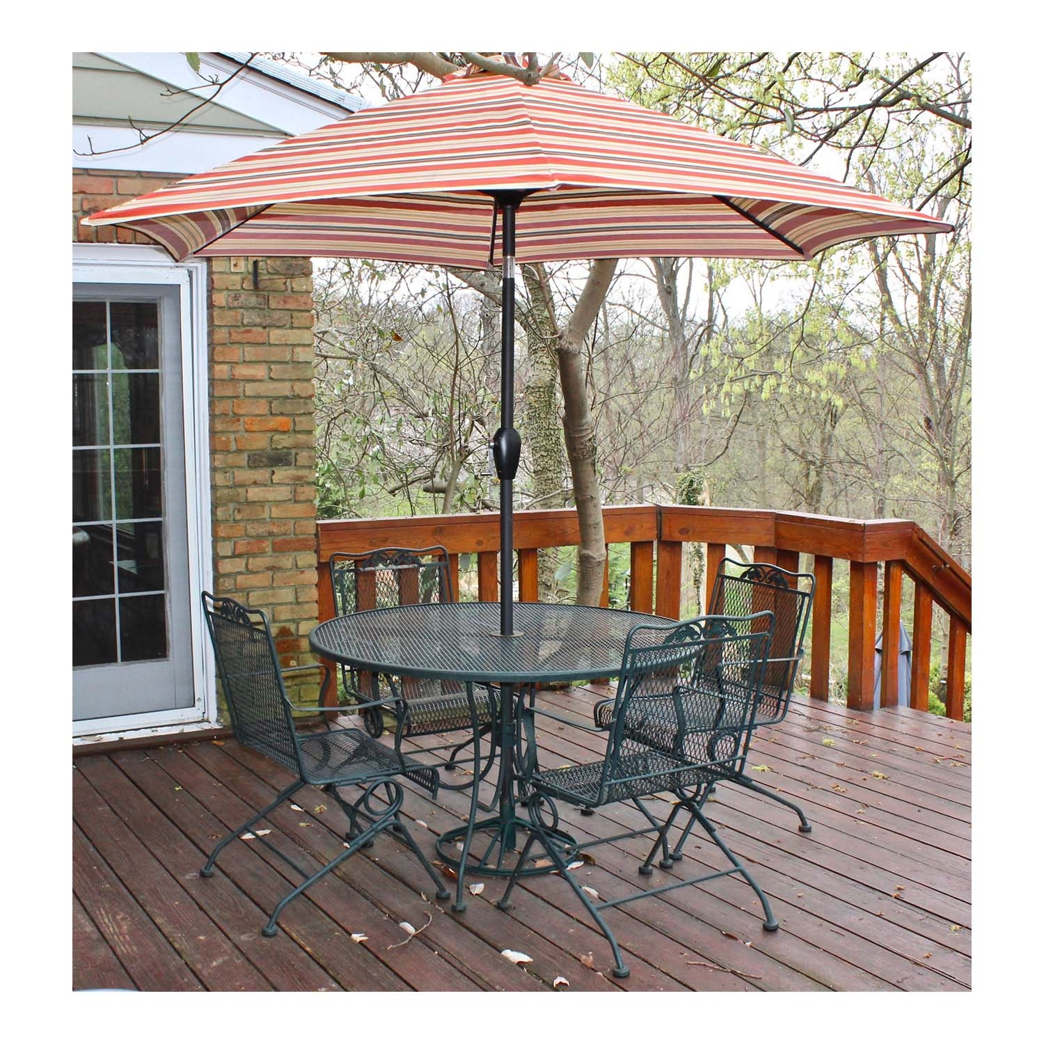 Iron Outdoor Patio Dining Table, Chairs and Umbrella