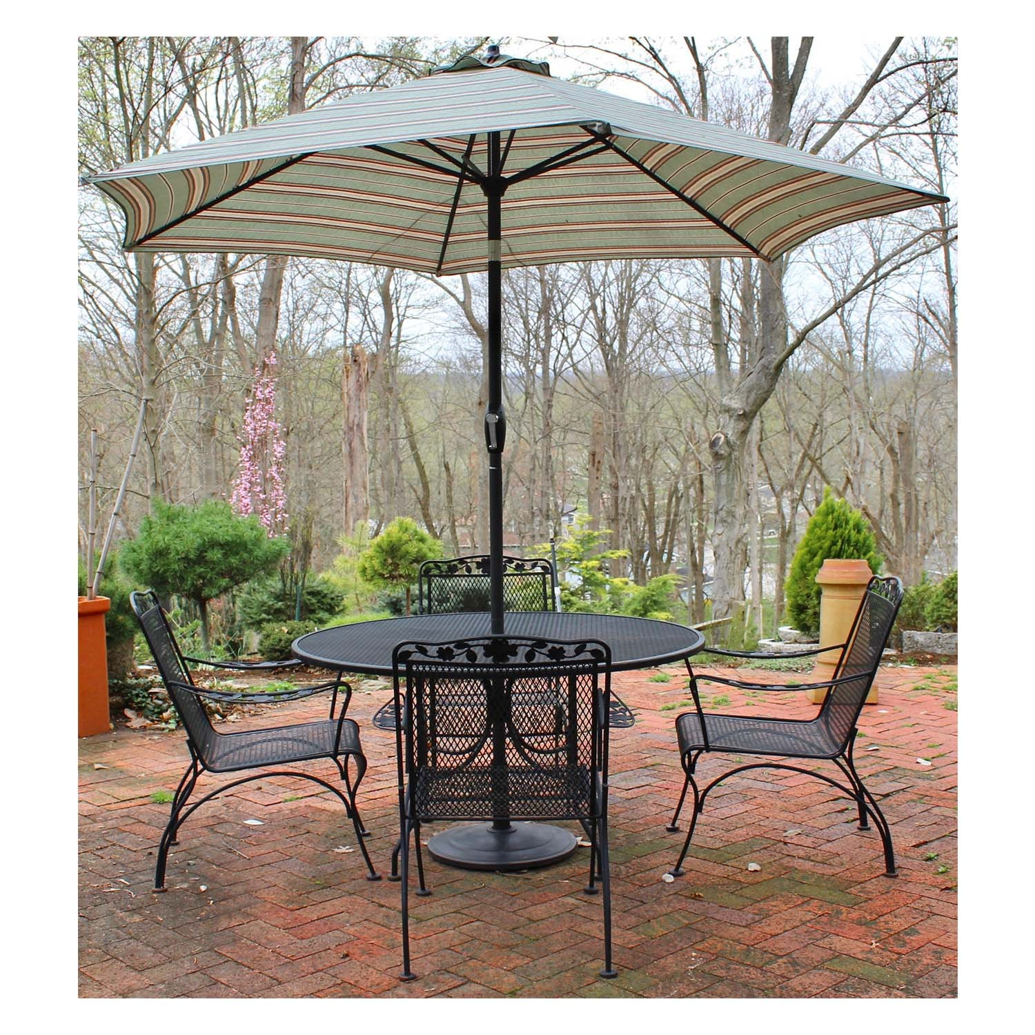 Iron Patio Dining Table, Chairs and Umbrella