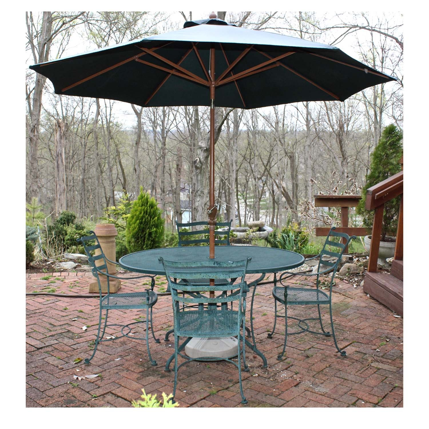 Green Iron Patio Dining Table, Chairs and Umbrella