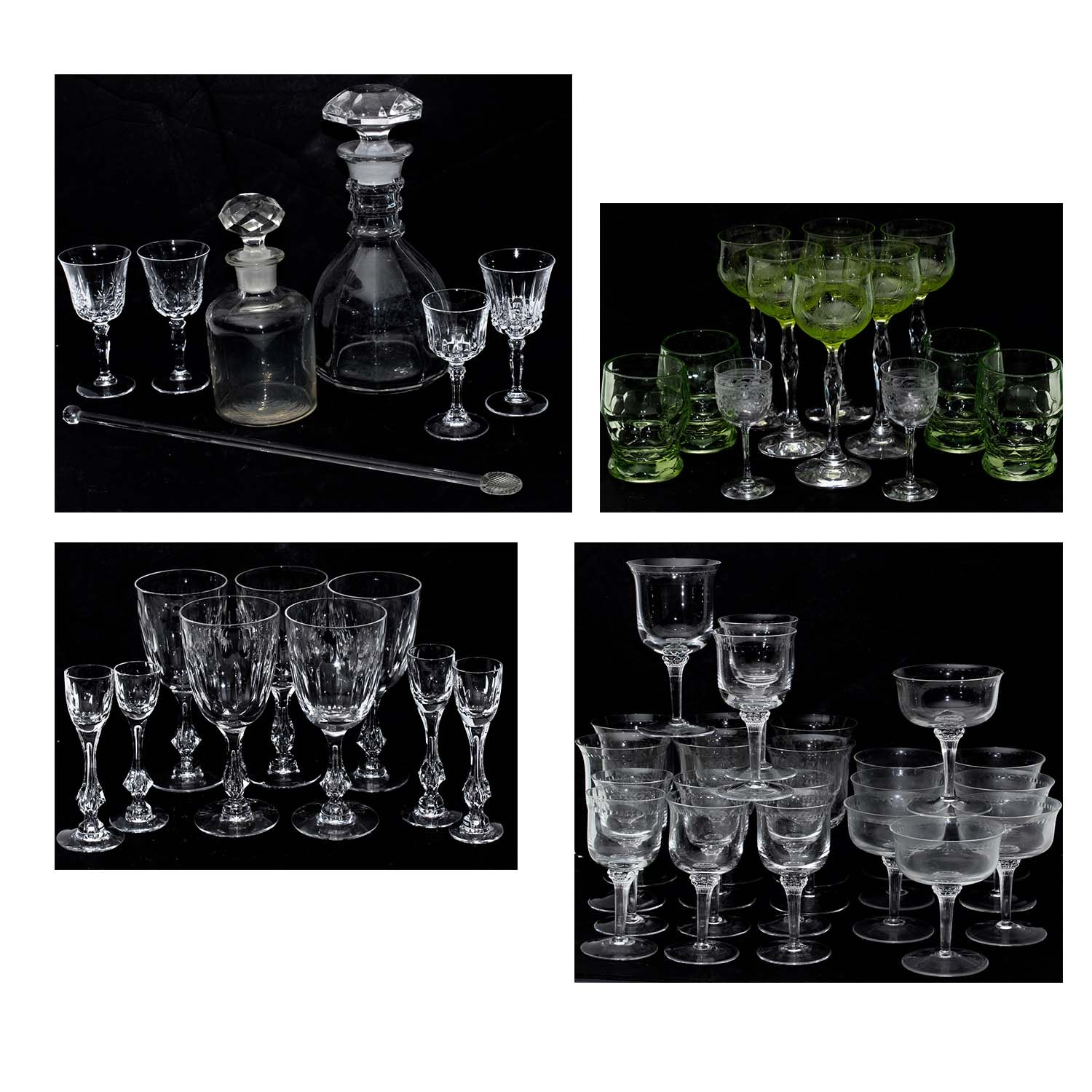 Vintage Crystal and Green Glass Stemware