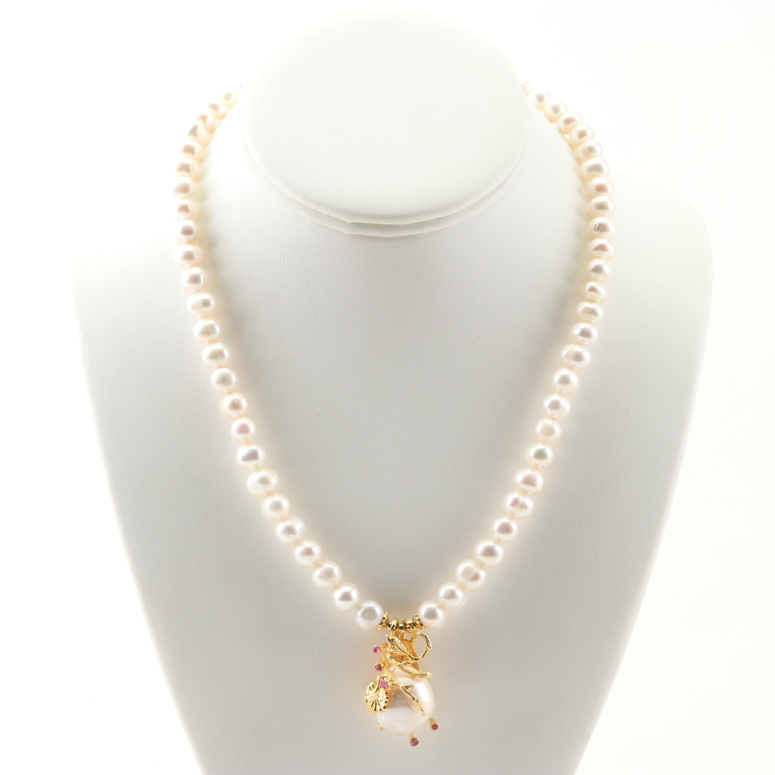 Sterling Silver Freshwater Pearl Strand with Rubies