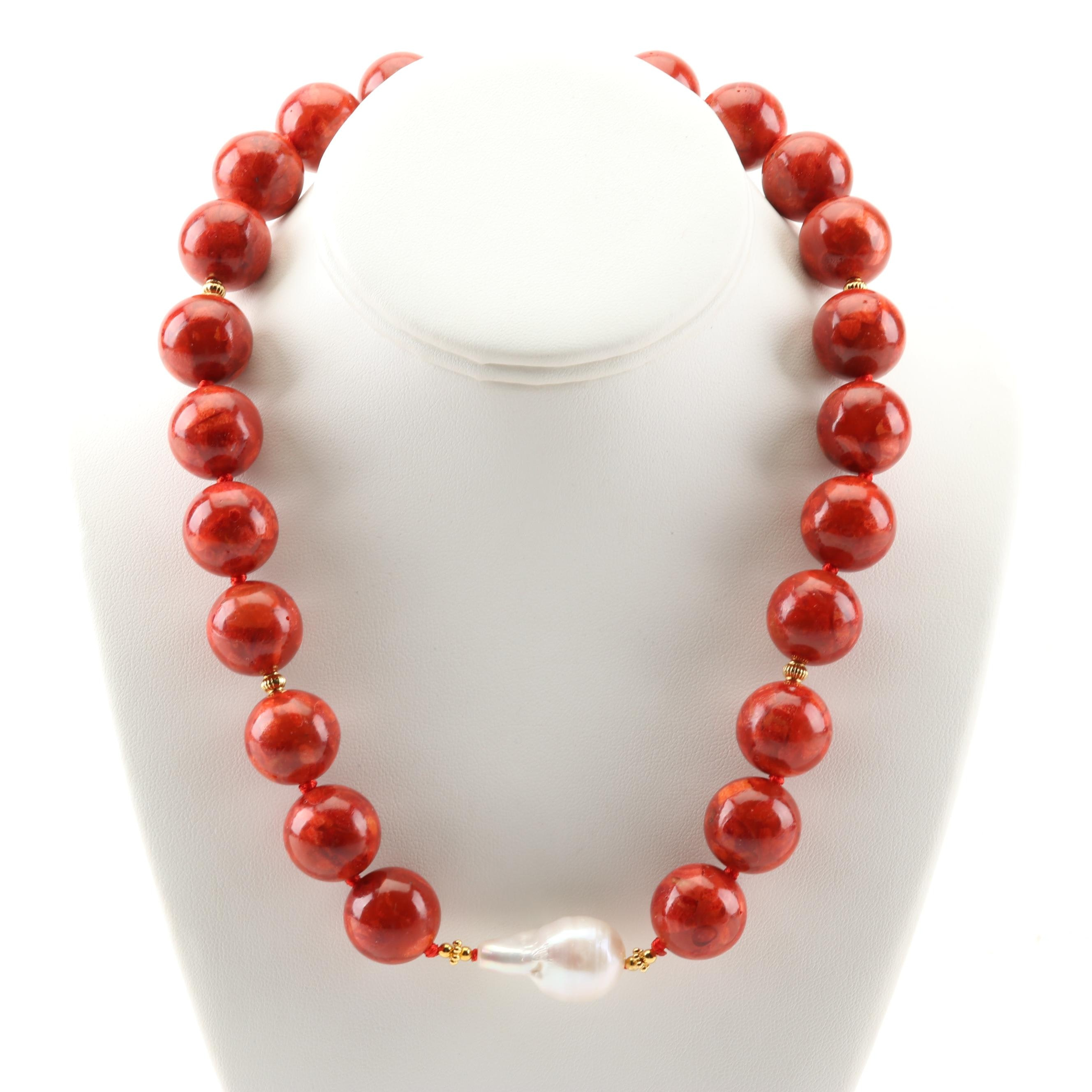 Coral Bead and Freshwater Pearl Strand